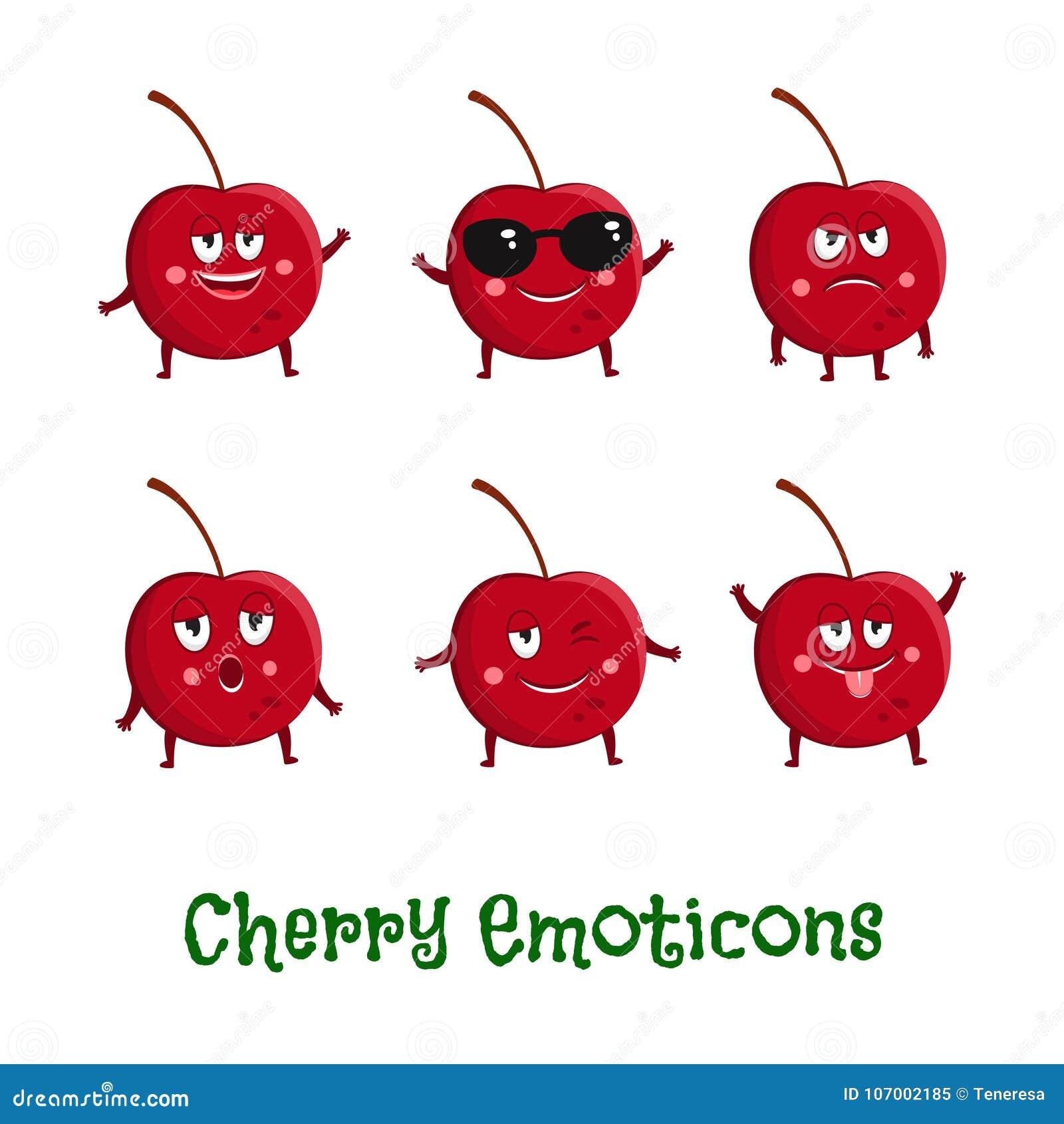 Czereśniowi uśmiechy Śliczni kreskówek emoticons Emoji ikony