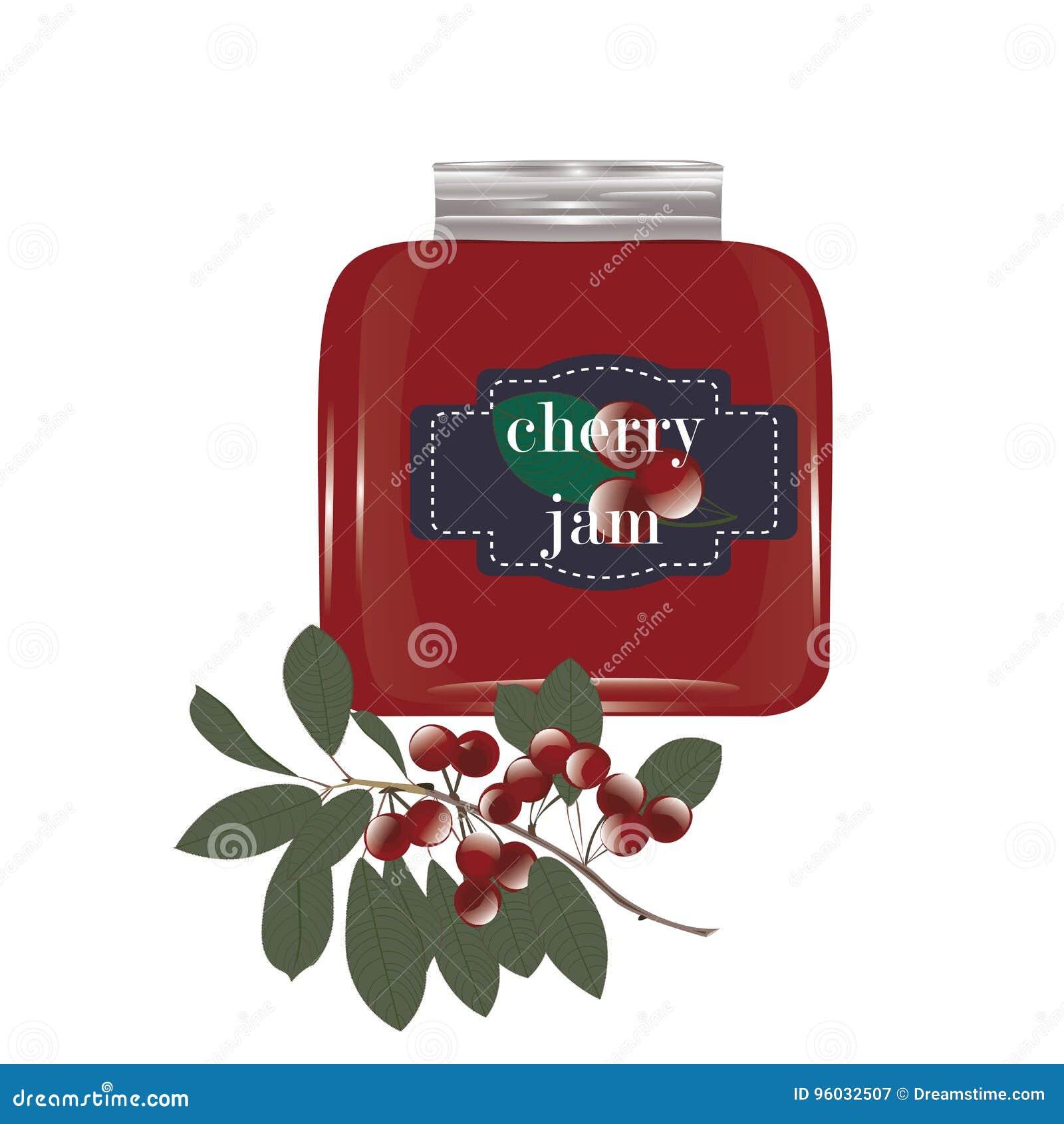 Czereśniowy dżem w szklanym słoju i wiśni na gałąź z liśćmi odizolowywającymi na białym tło wektorze
