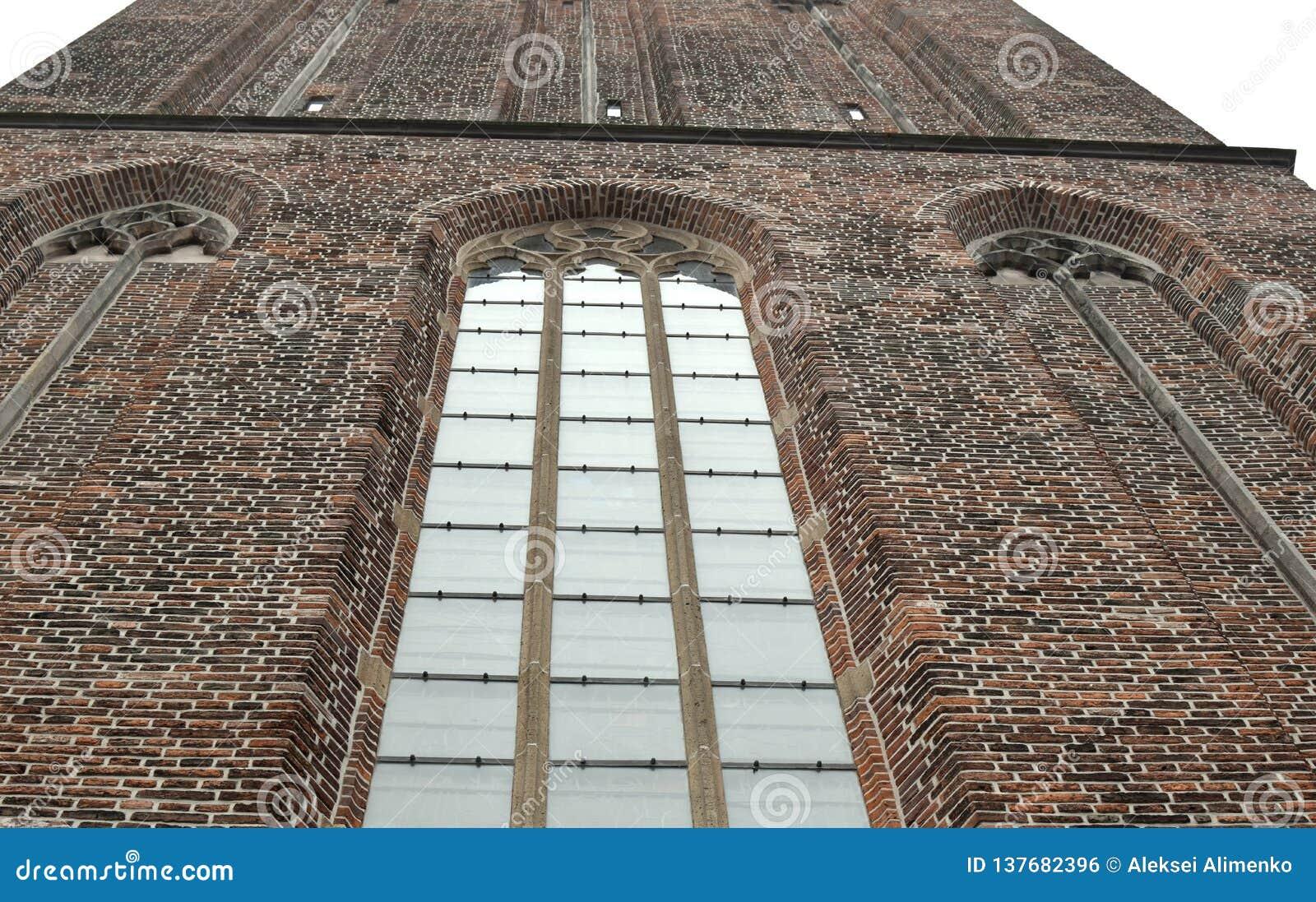 Czerep fasada budynek Bazylika Nasz dama niebo w Zwolle holandie
