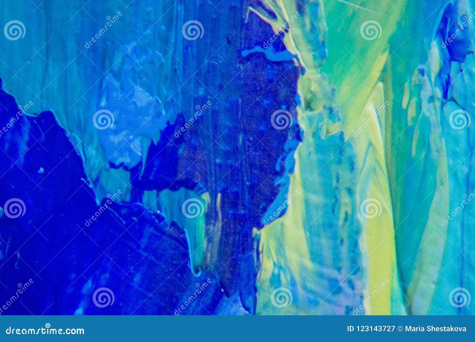Czerep Stubarwny tekstura obraz sztuki abstrakcjonistycznej tło Olej na kanwie Szorstcy brushstrokes farba Zbliżenie paintin