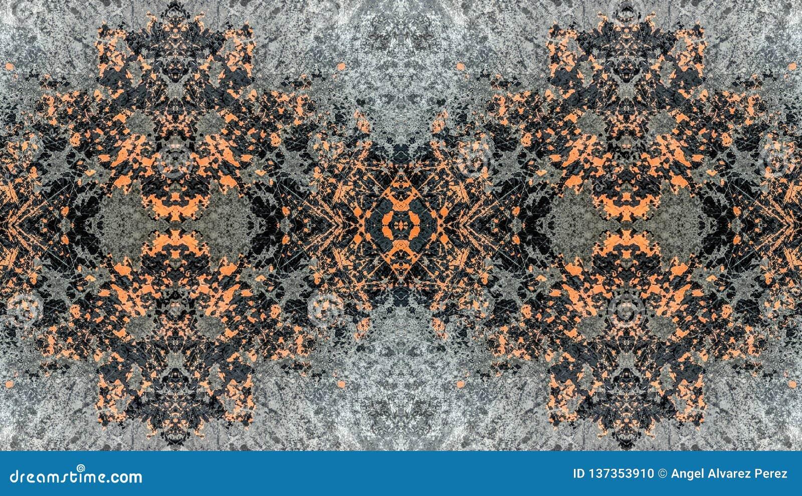 Czerni i pomarańczowego pasiastego grunge abstrakcjonistyczny projekt