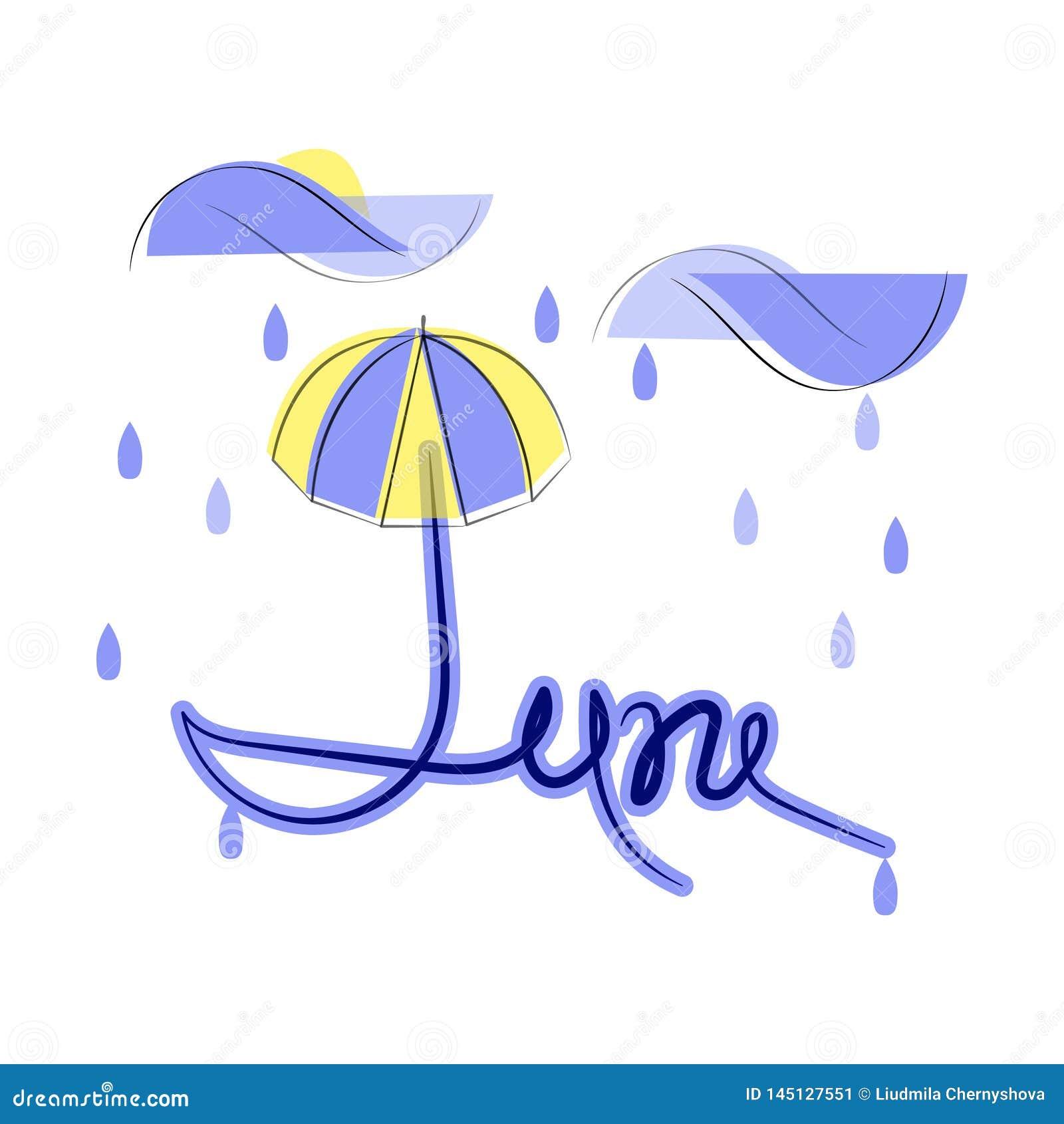 Czerwiec, płaska ilustracja na białym tle Deszczowy dzień, chmury, raindrops i parasol, Słońce podpatruje z chmur