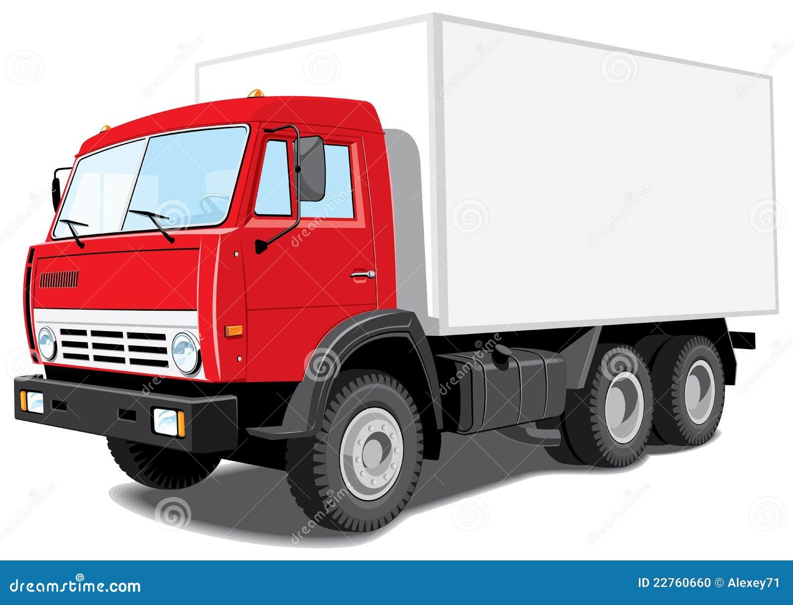 Czerwieni doręczeniowa ciężarówka