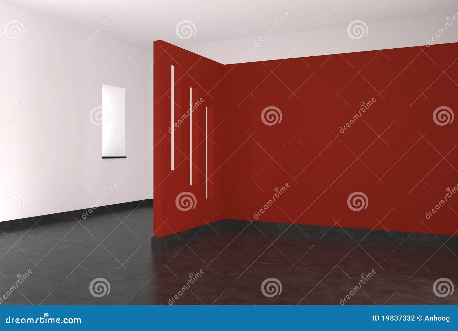 Czerwieni pusta wewnętrzna nowożytna ściana