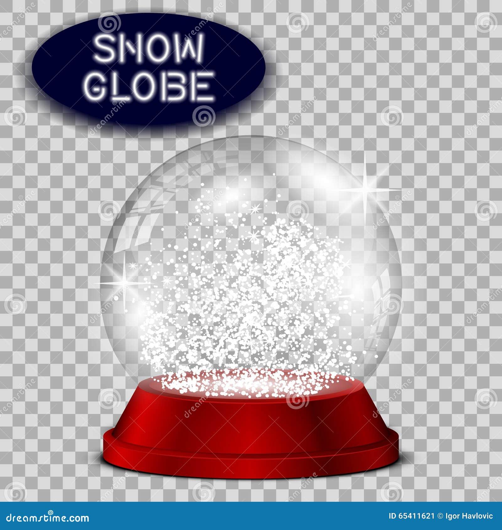 Czerwona śnieżna kula ziemska przejrzysta i odosobniona dla projekta