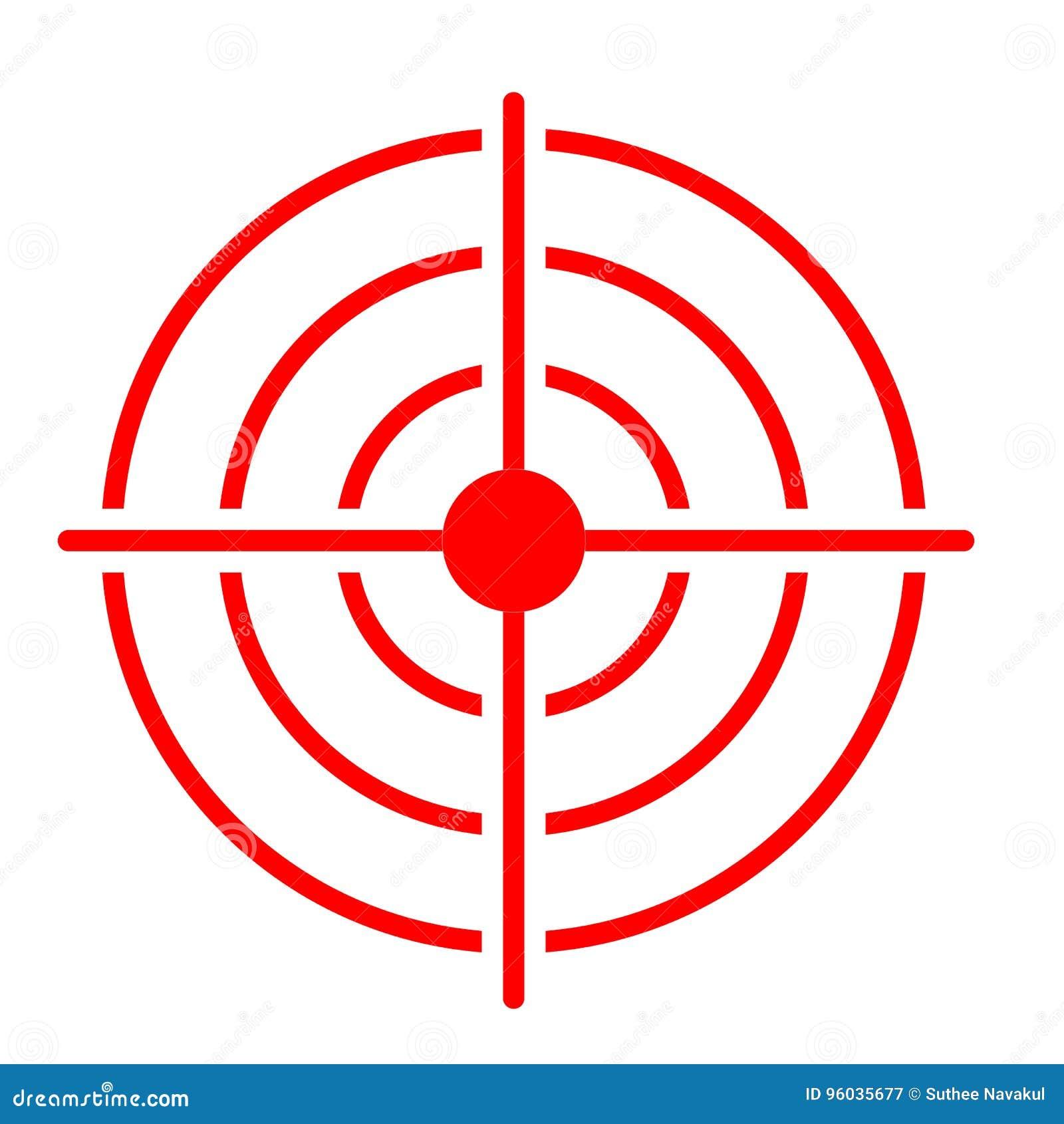 Czerwona cel ikona na białym tle