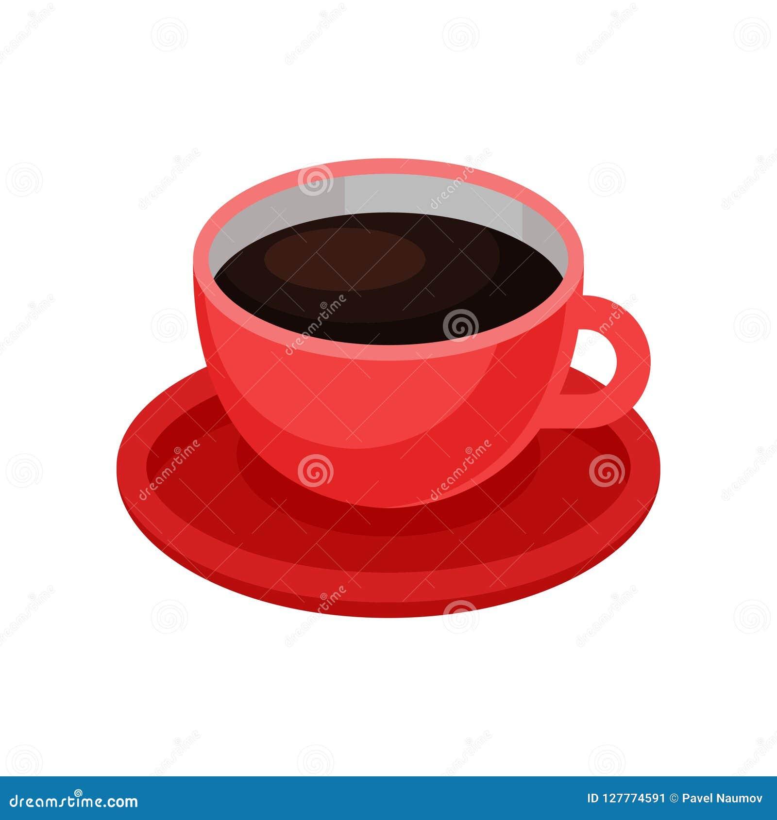 Czerwona filiżanka świeża czarna kawa Smakowity ranku napój Gorący napoju temat Isometric wektorowy element dla kawiarni lub rest