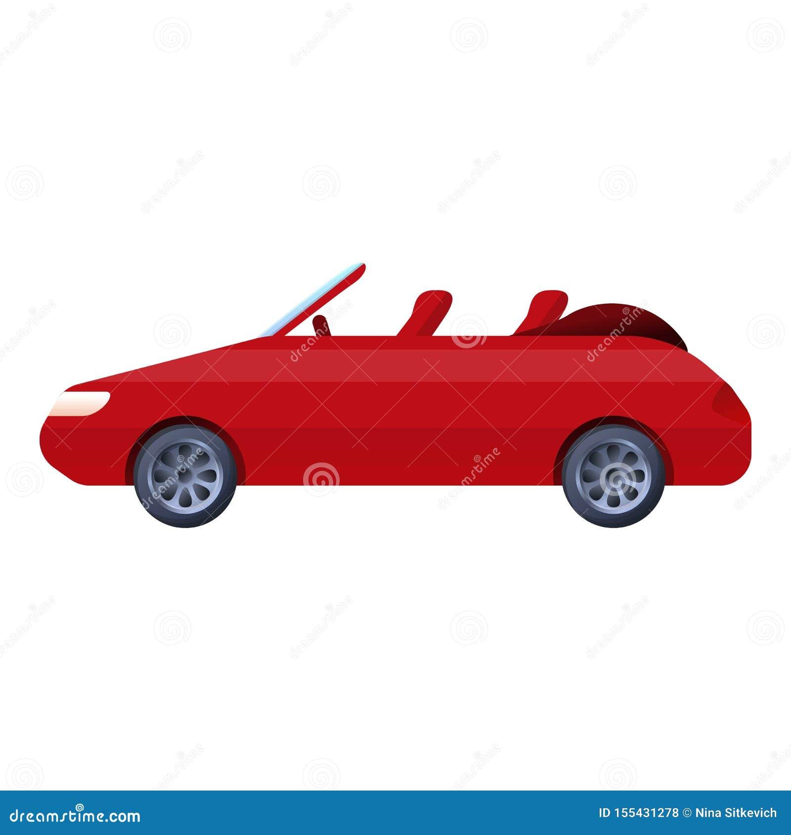 Czerwona kabriolet ikona, kreskówka styl