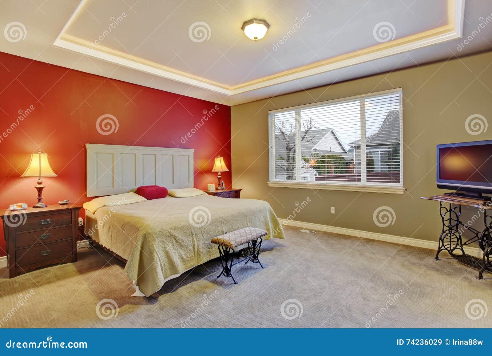 Czerwona Prosta Sypialnia Z Dużym łóżkiem Wielki Okno Obraz