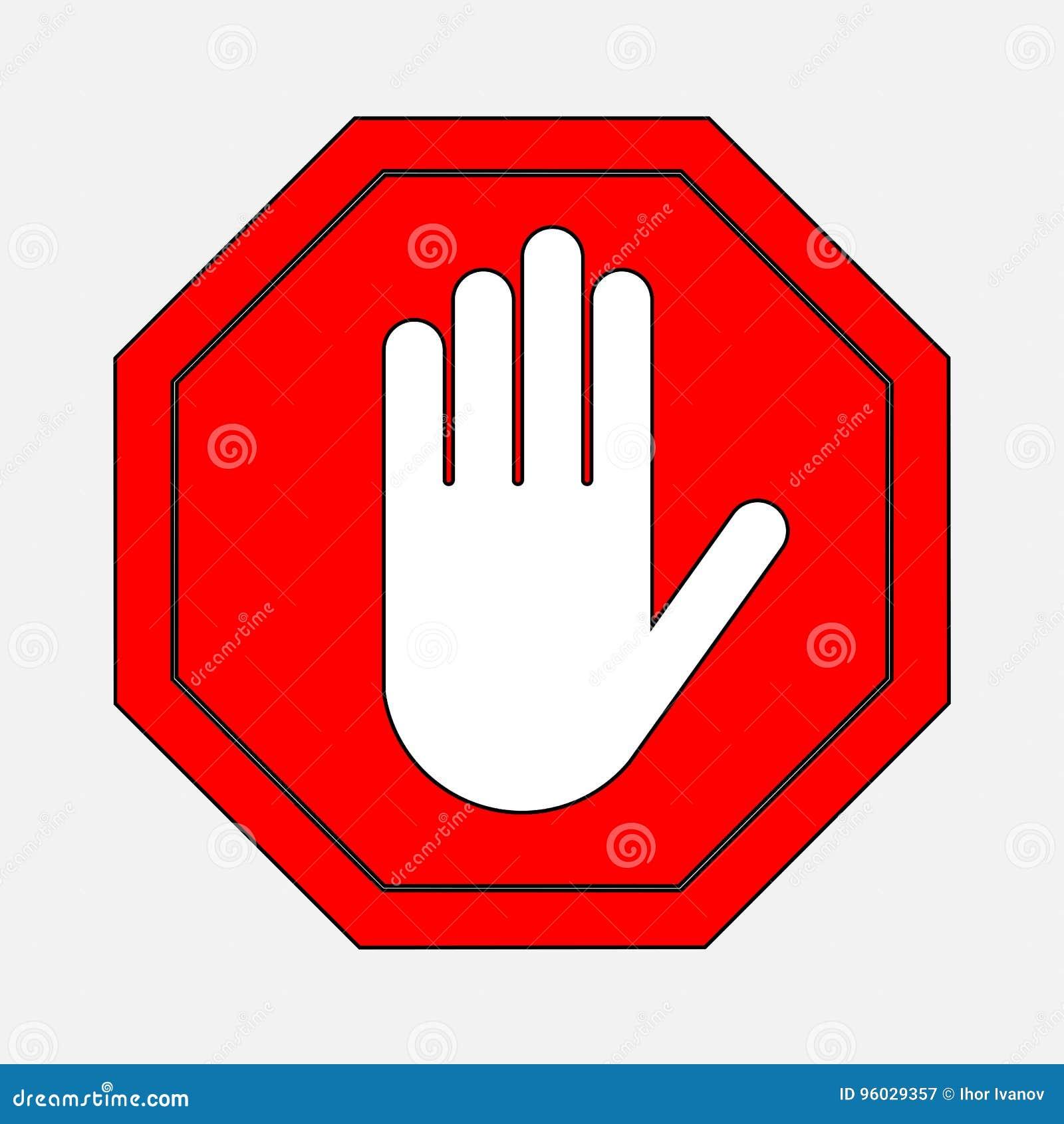 Czerwona przerwa znaka ręki przerwa