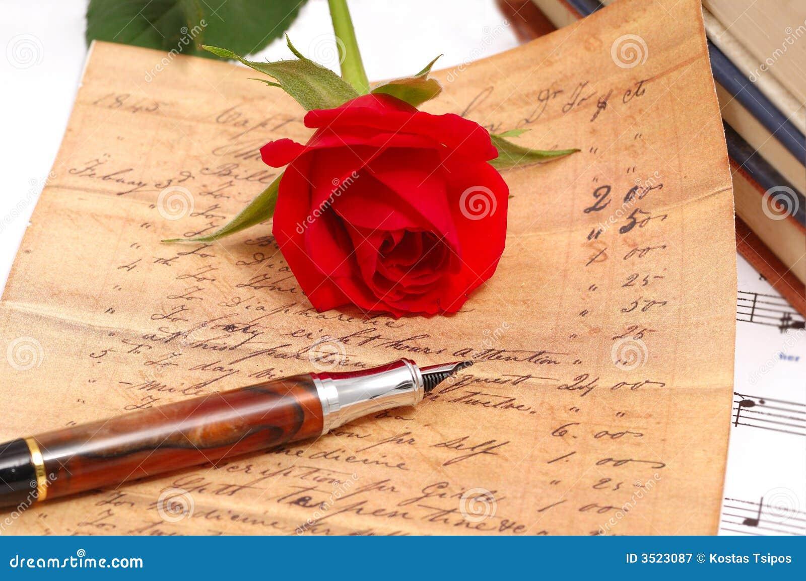 Czerwona Róża Jedwabiście Długopis Obraz Stock Obraz