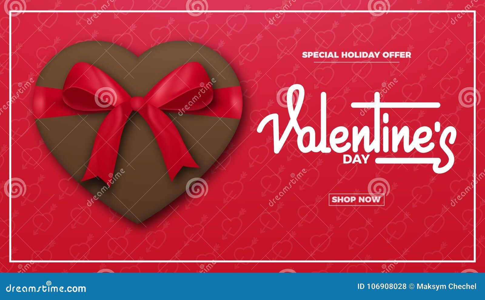 Czerwona róża Walentynki tło z pisma literowaniem, czekolada teraźniejsza i realistyczny jedwabniczy prezenta łęk, Walentynki ` s