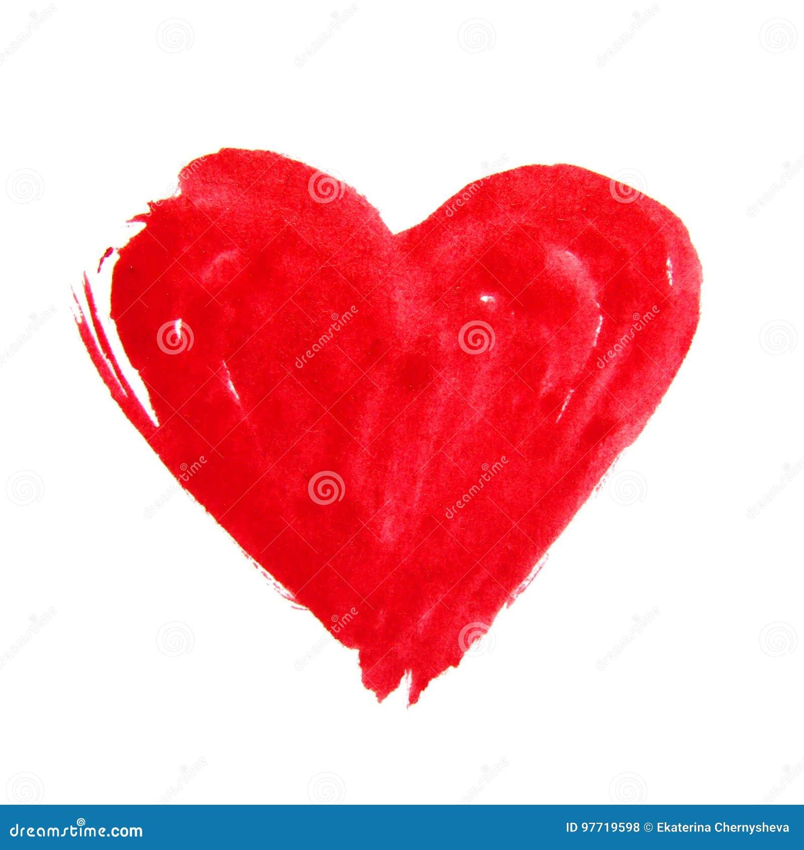 Czerwona ręka rysujący akwareli serce