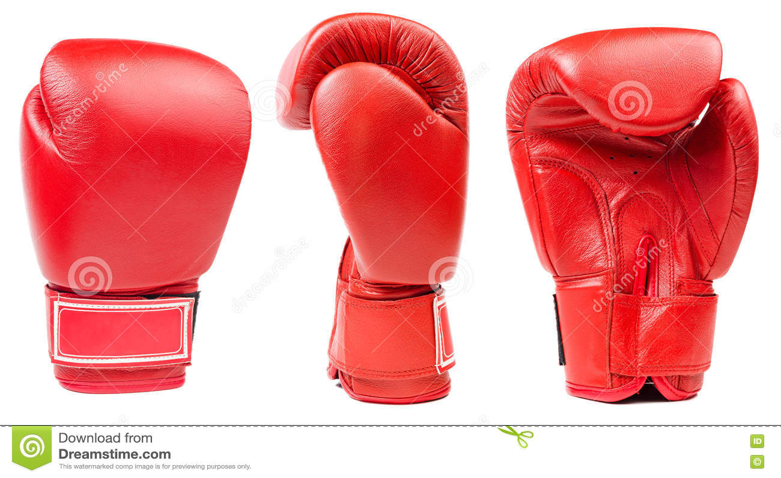 Czerwona rzemienna bokserska rękawiczka odizolowywająca