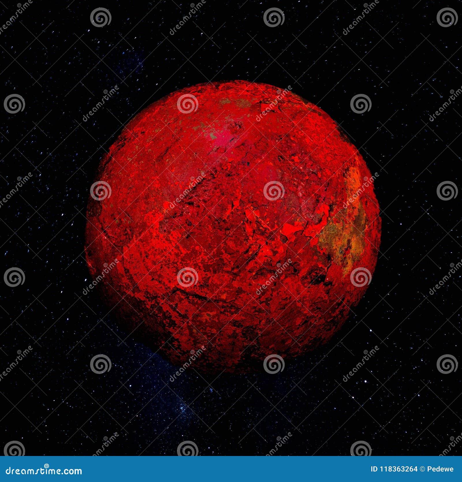Czerwona sfera w wszechświacie