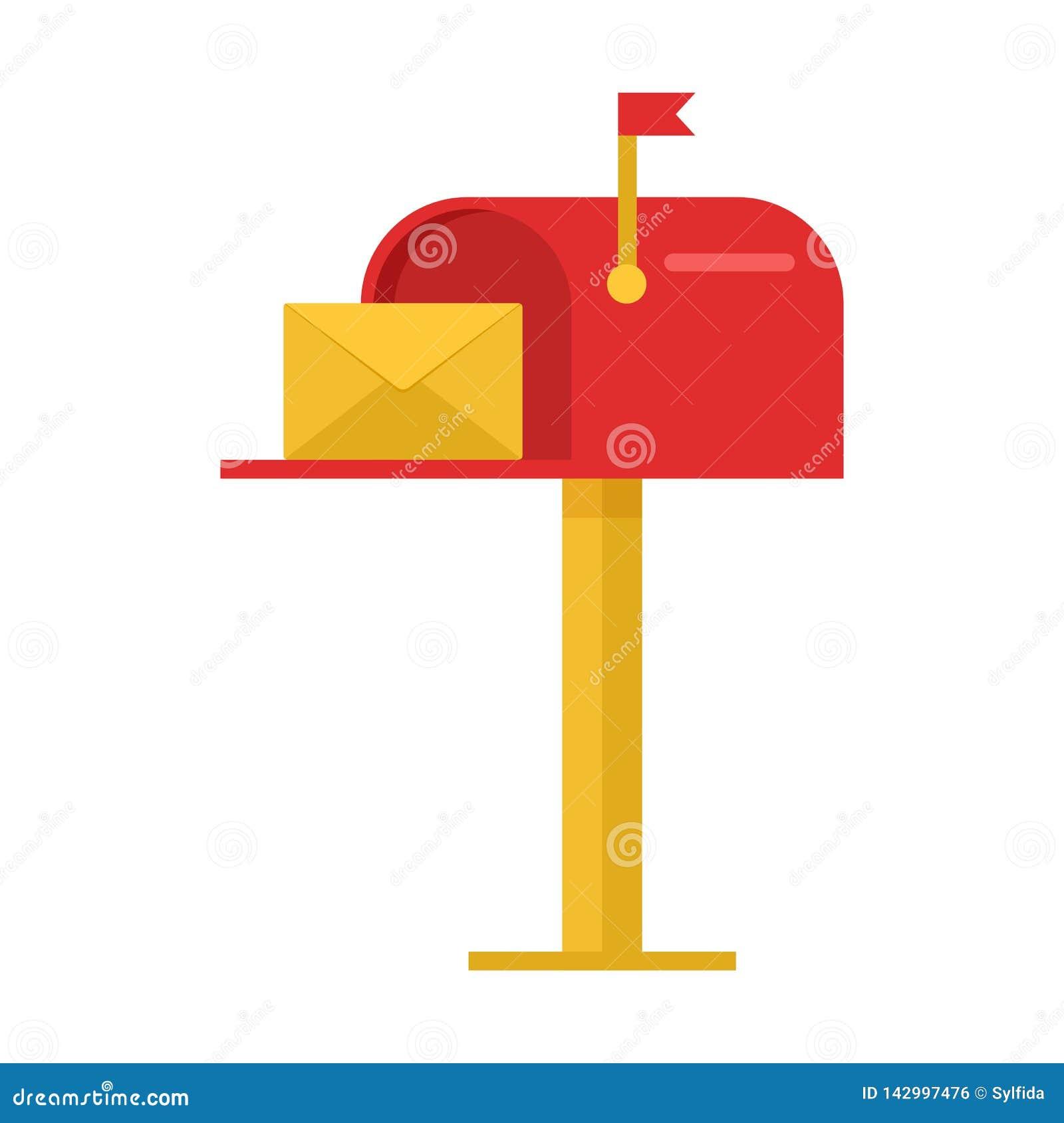 Czerwona skrzynka pocztowa z yelow kopertą wektor