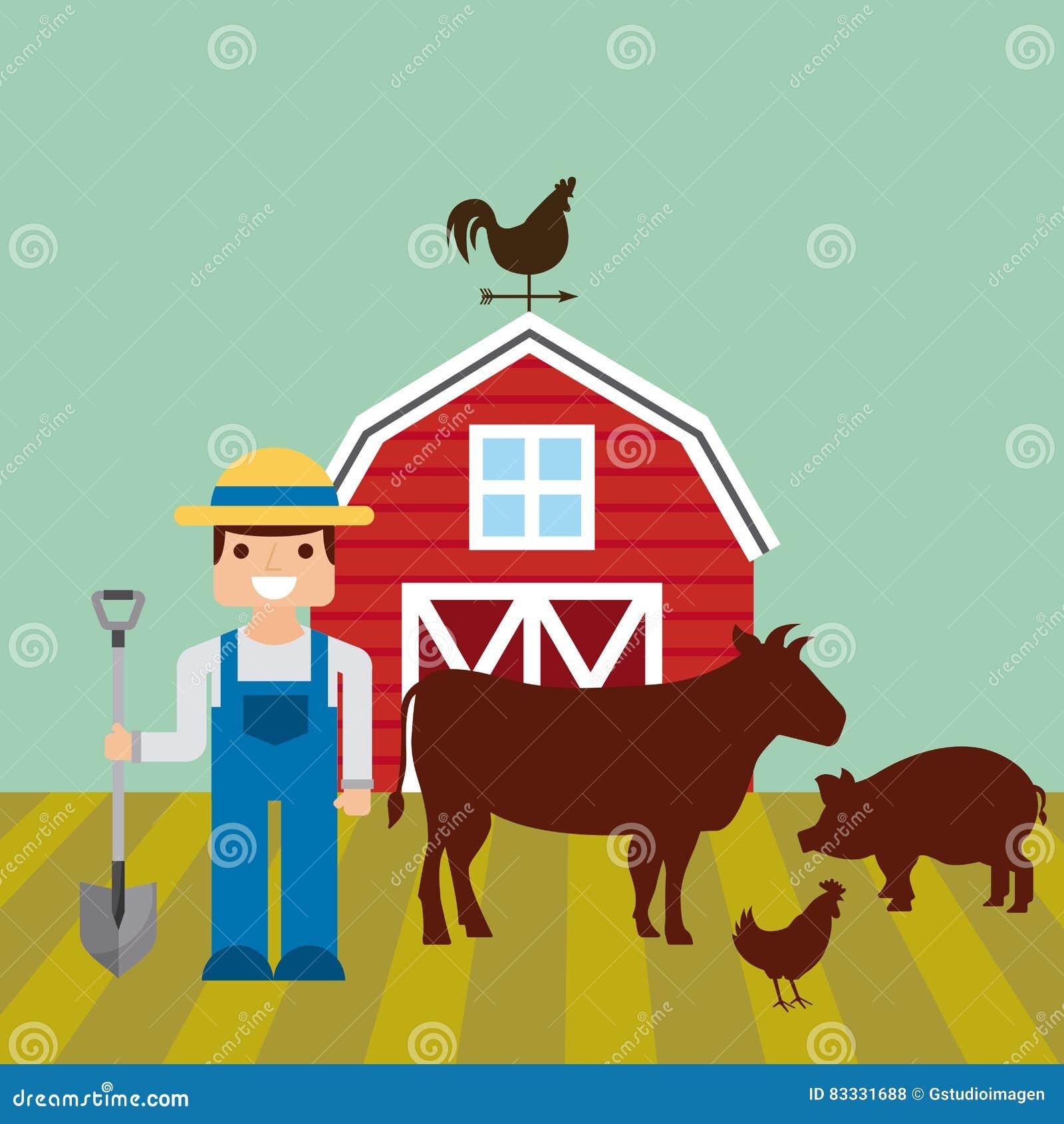 Czerwona stajnia nad gospodarstwo rolne krajobrazem