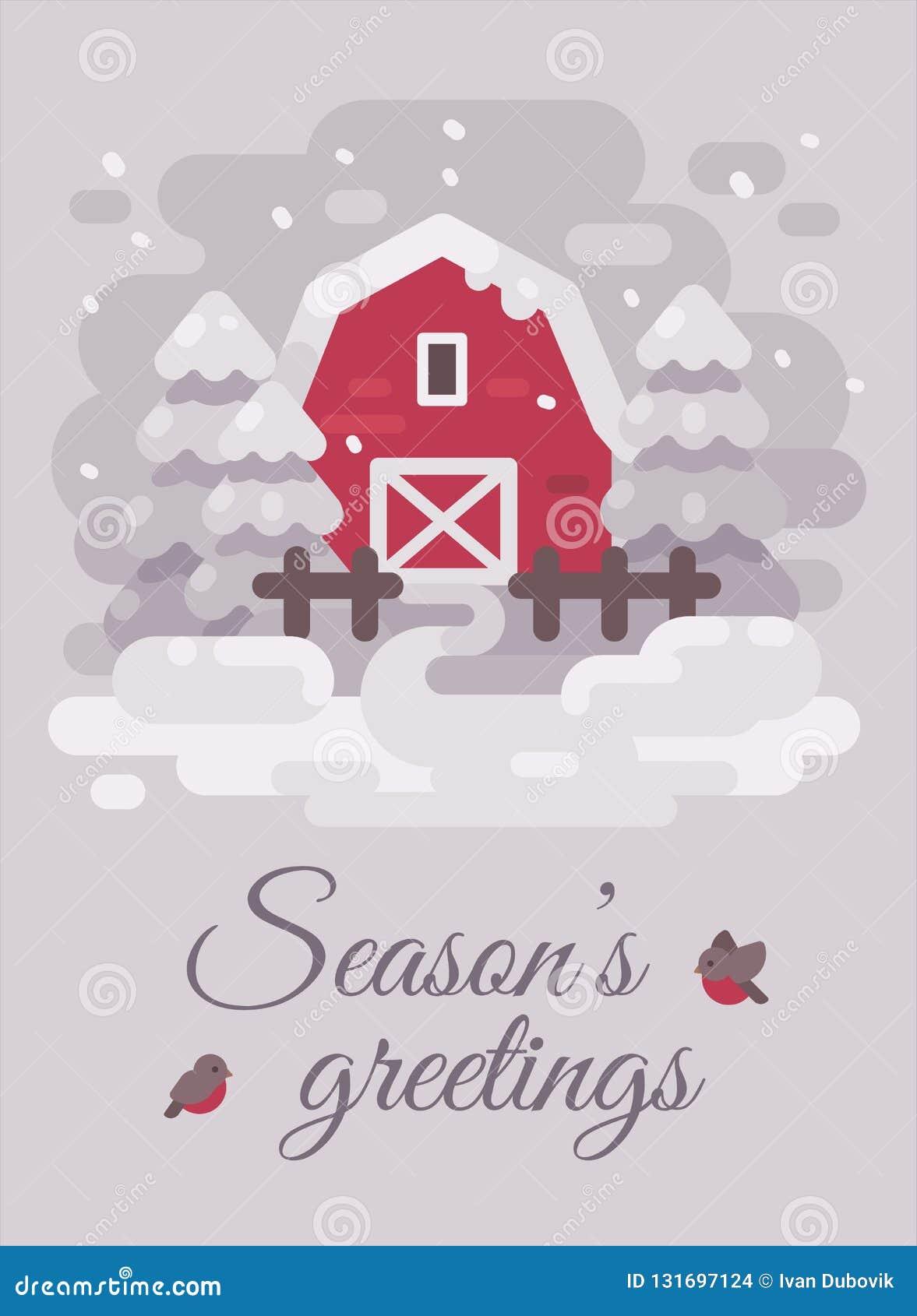 Czerwona stajnia z drzewami w zima kraju krajobrazie Bożenarodzeniowa kartka z pozdrowieniami mieszkania ilustracja bożych narodz
