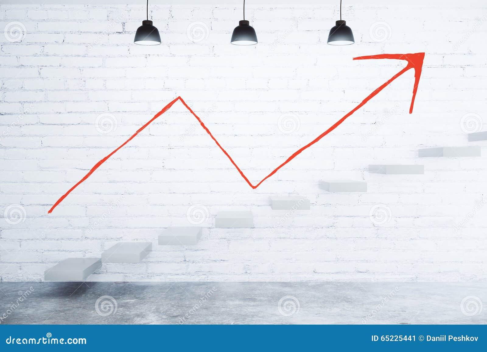 Czerwona strzała up na białym ściana z cegieł i betonowych schodkach