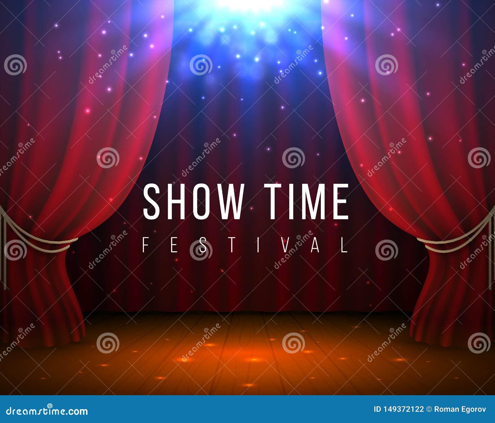 Czerwona zas?ony scena Zamknięty kina i opery tło z czerwienią drapuje i światło reflektorów Wektoru 3D elegancki tło