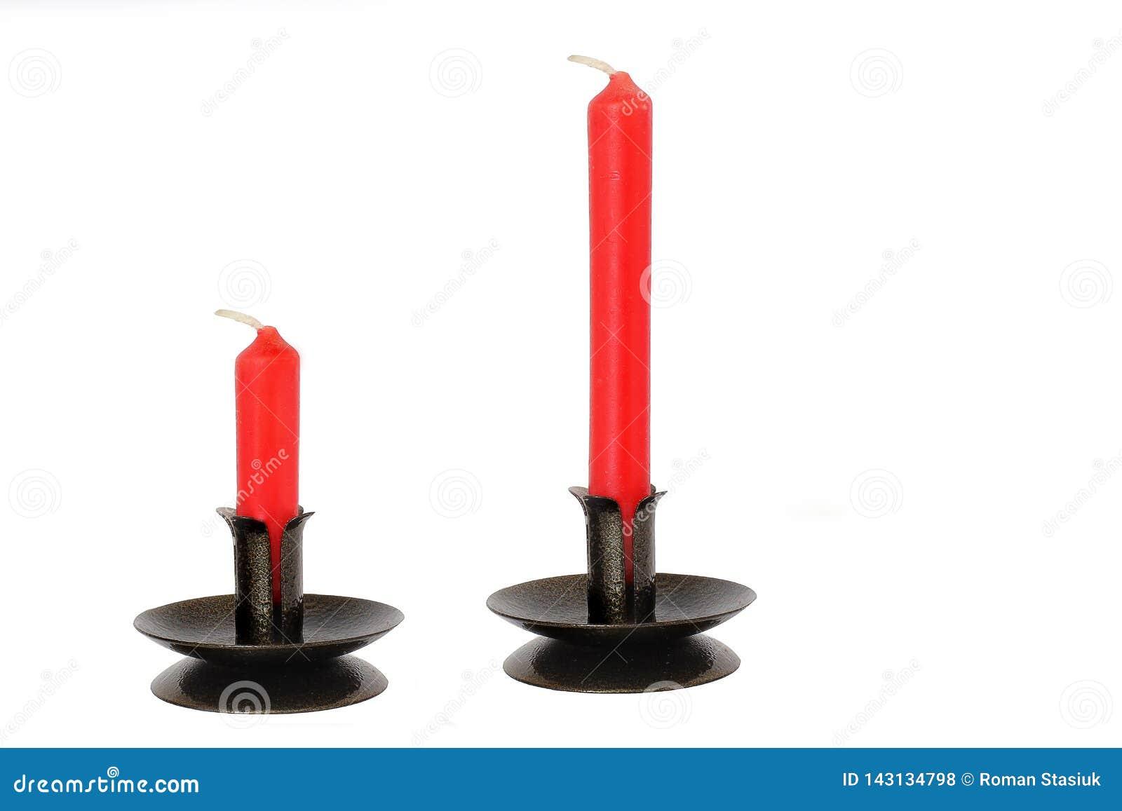 Czerwone świeczki na białym tle świeczka antykwarscy właściciele