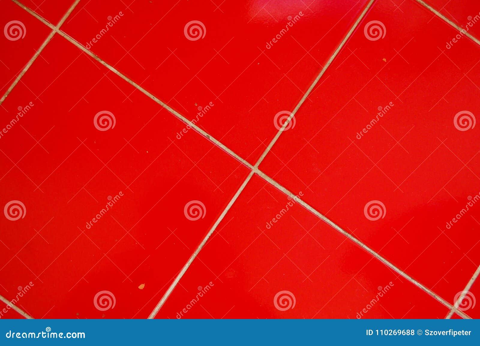 Czerwone Podłogowe Płytki W Kuchni Zdjęcie Stock Obraz