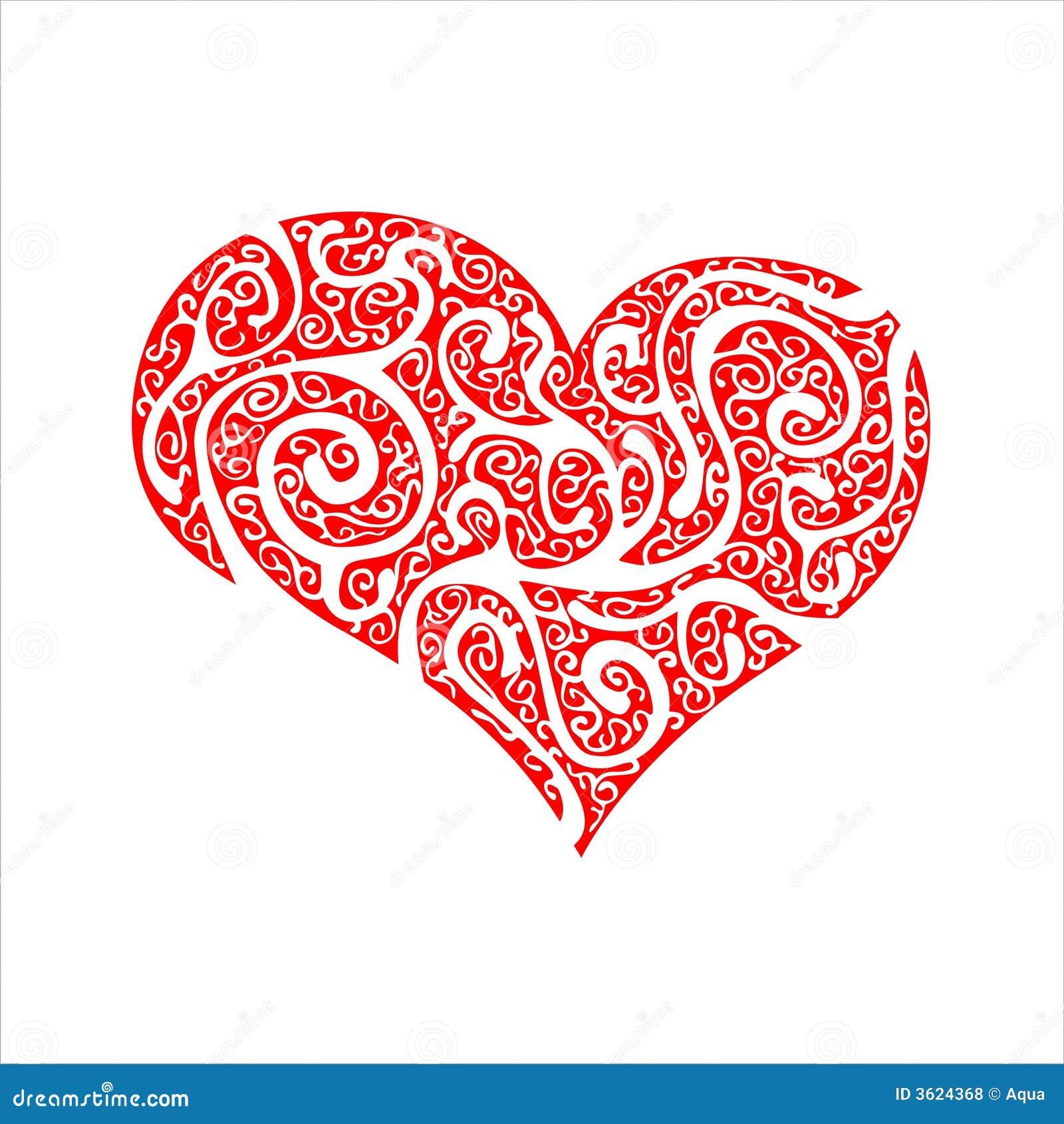 Czerwone serce ozdobny s walentynki