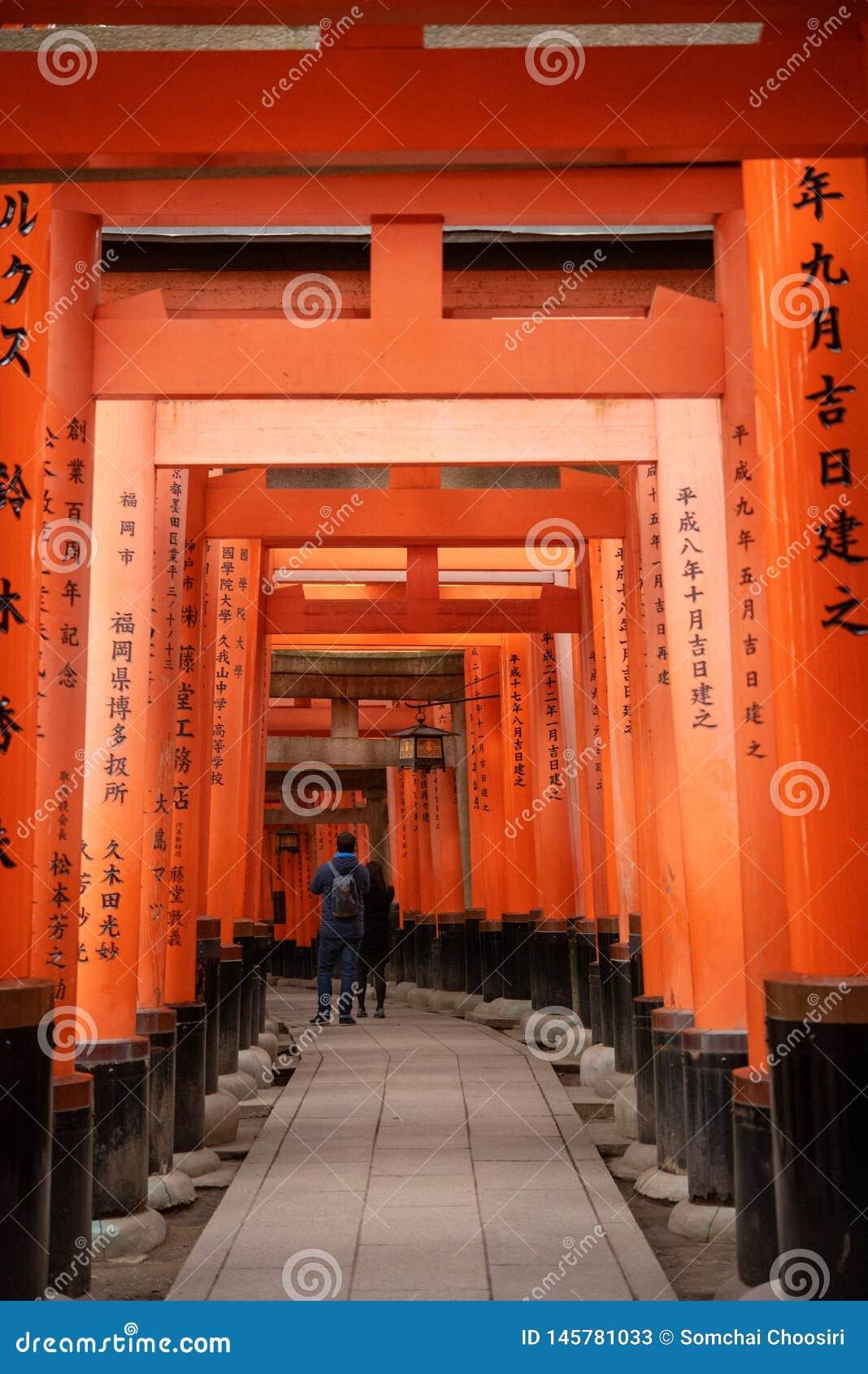 Czerwone Torii bramy w Fushimi Inari ?wi?tyni