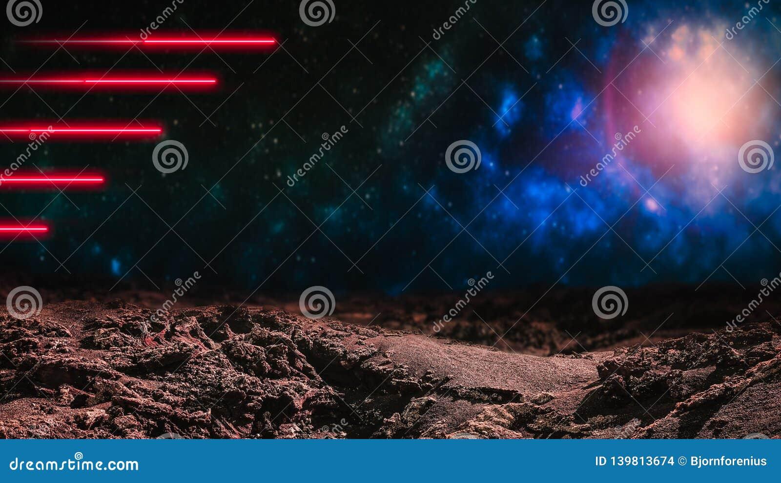 Czerwone wiązki laserowe nad kosmosu tłem