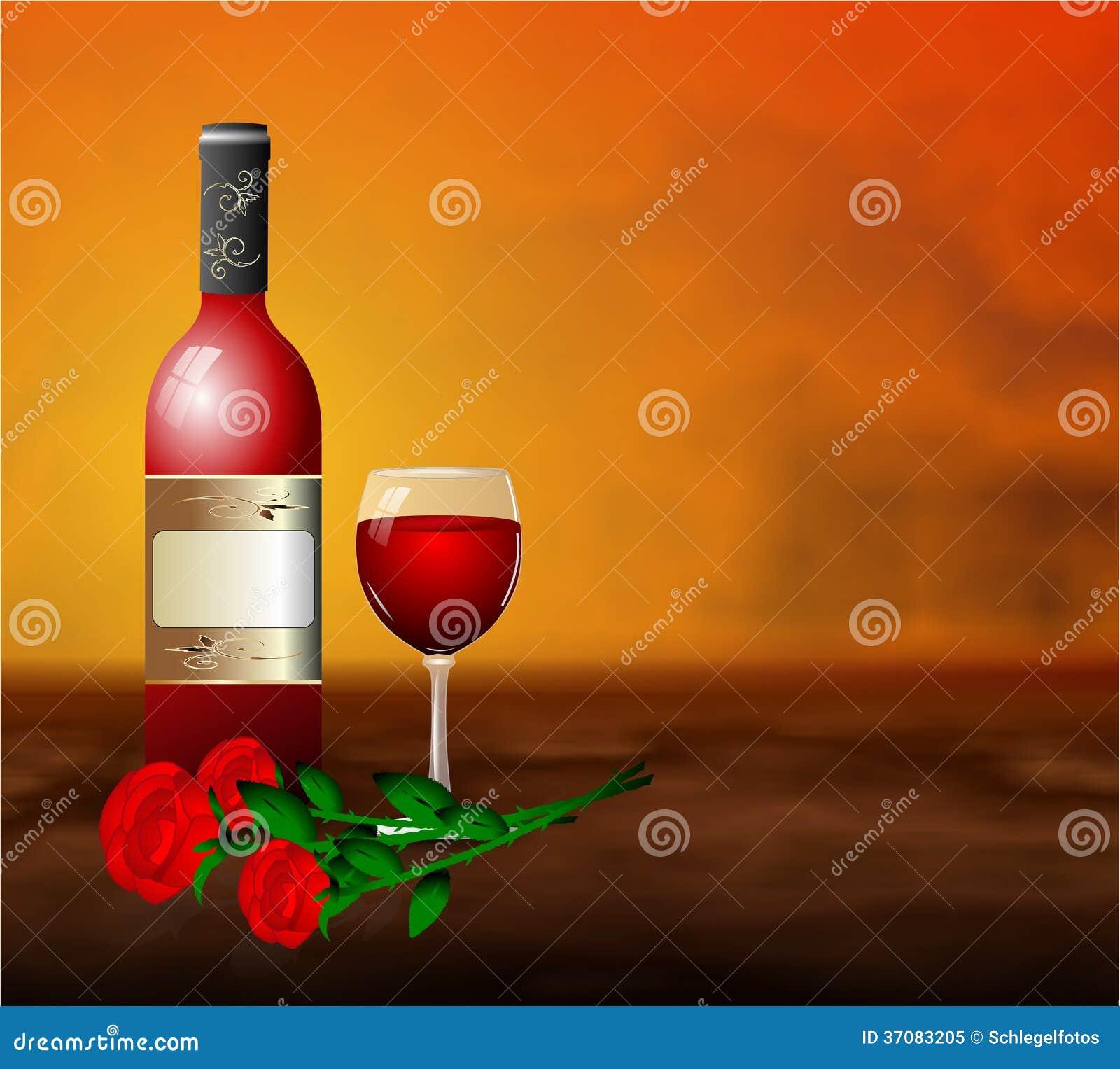 Download Czerwone Wino Róży Romantyczny Kwiat Ilustracji - Ilustracja złożonej z wakacje, czerwień: 37083205