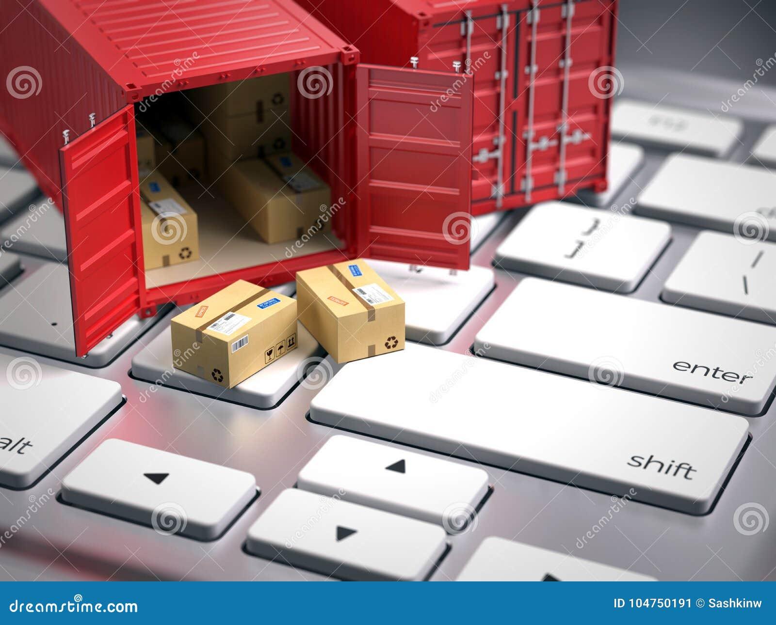 Czerwonego ładunku frachtowy kontener na komputerowej klawiaturze Ładunek wysyłki logistycznie pojęcie