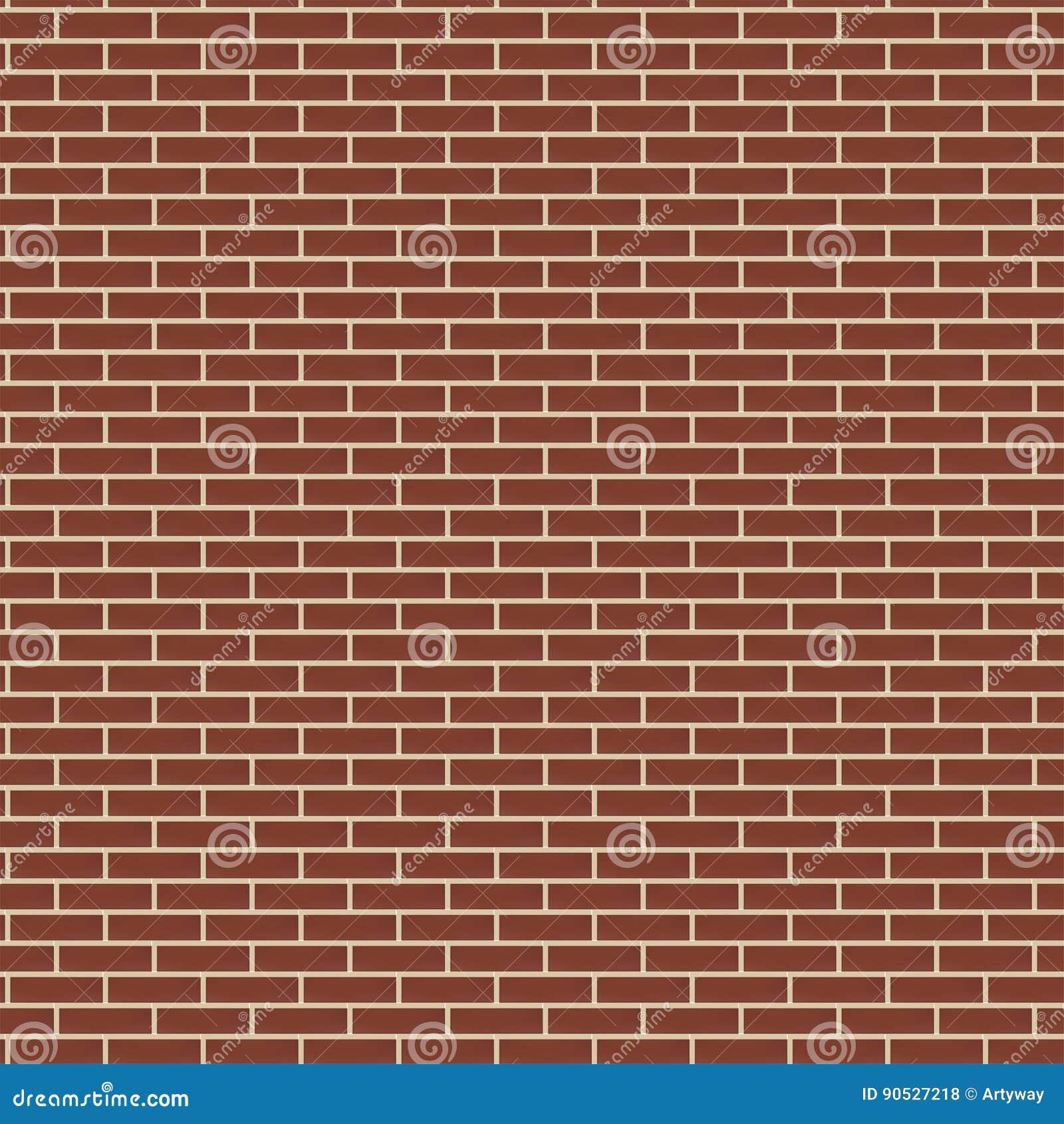 Czerwonego ściana z cegieł tekstury bezszwowy tło, brown koloru brickwork wektoru ilustracja