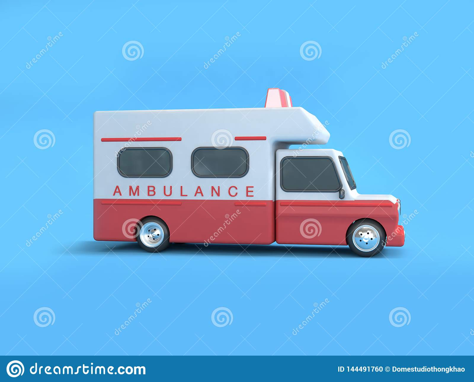 Czerwonego białego ambulansowego kreskówka stylu tła 3d błękitny rendering