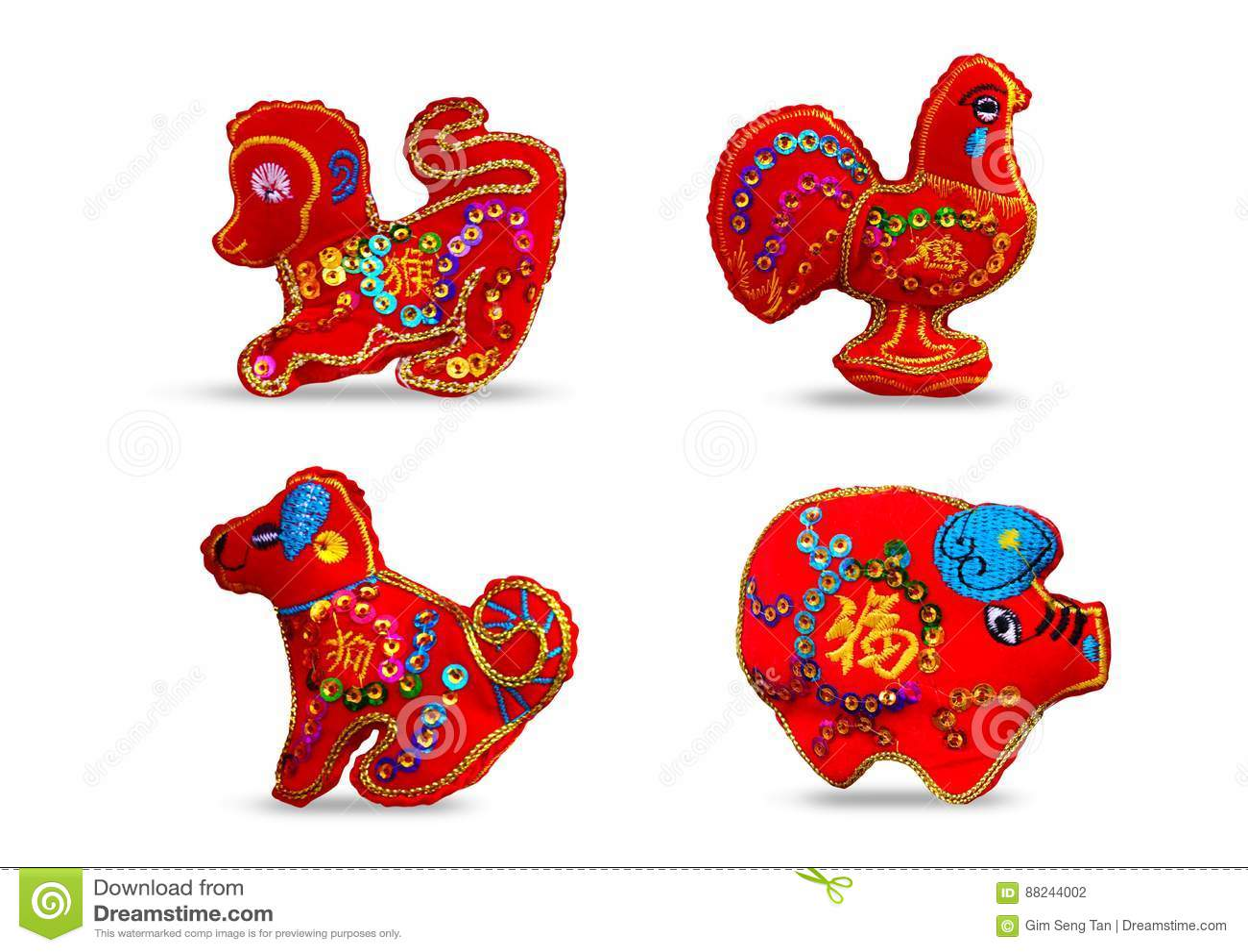 Czerwonego koloru se 4 dwanaście zodiaków