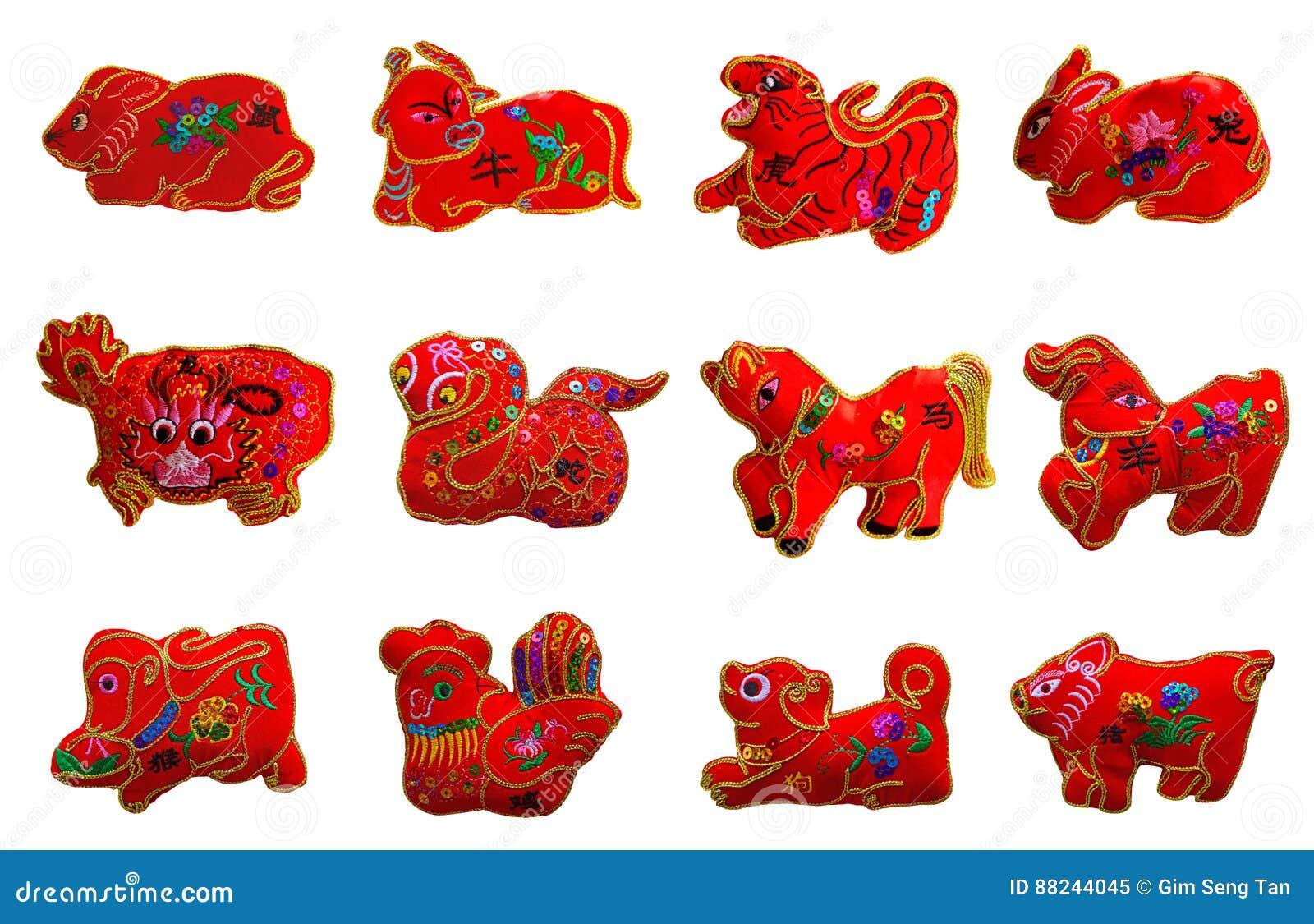 Czerwonego koloru se 12 dwanaście zodiaków