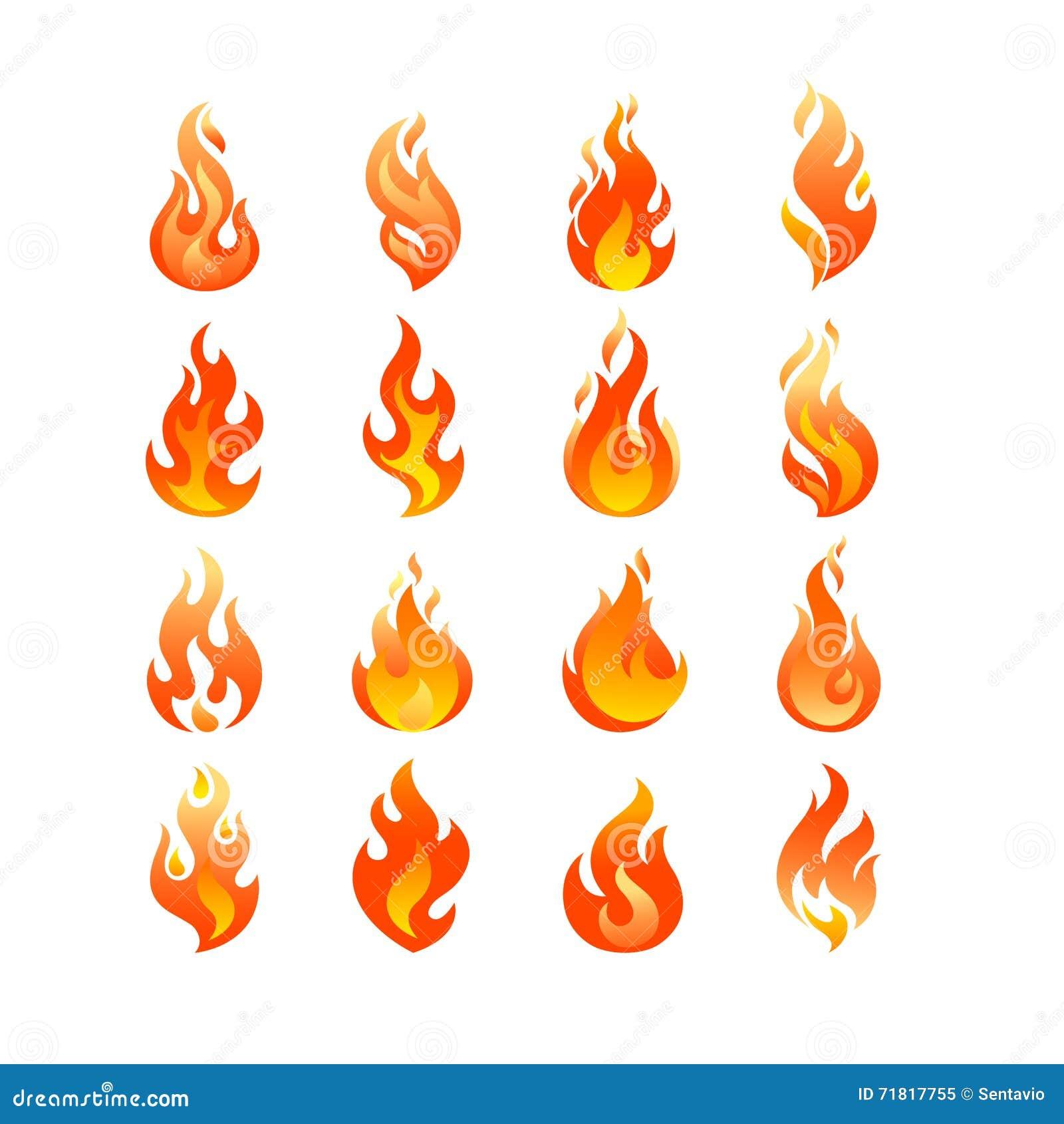 Czerwonego palenie ogienia płomienia loga projekta wektoru ustalony szablon