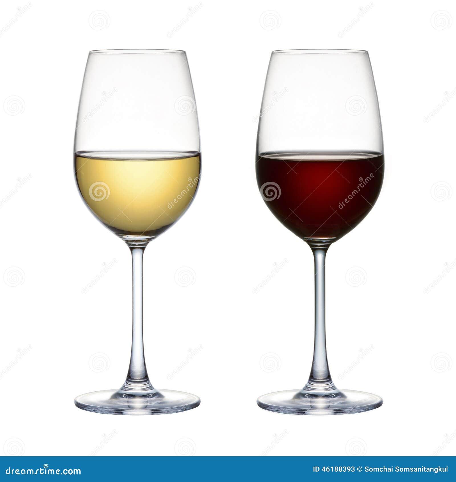 Czerwonego wina szkło i białego wina szkło odizolowywający na białym tle