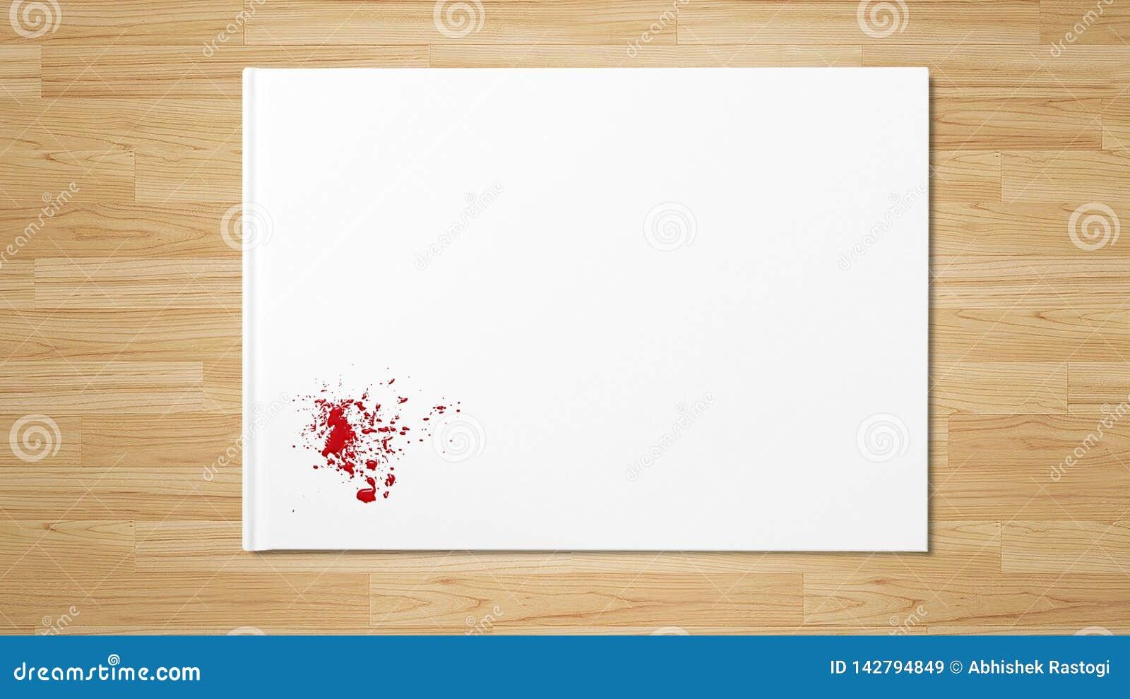 Czerwonej kropli splatter plamy sztuki farba na białej księdze