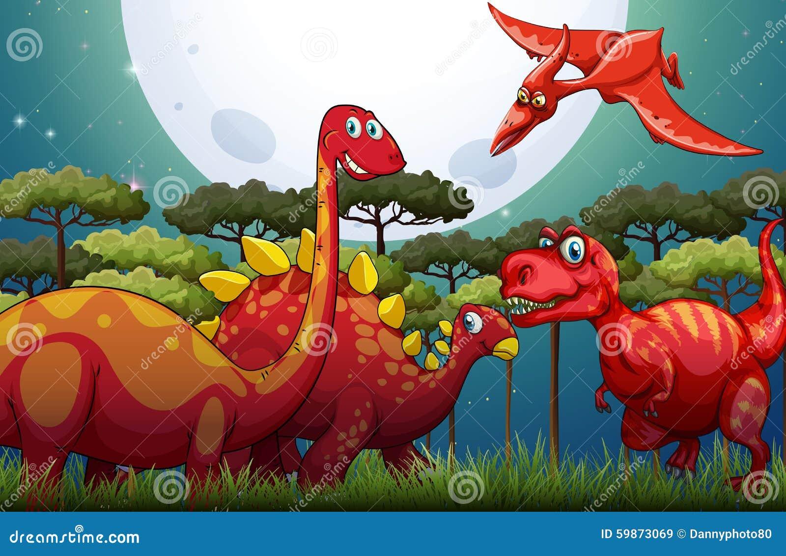 Czerwoni dinosuars pod księżyc w pełni w naturze