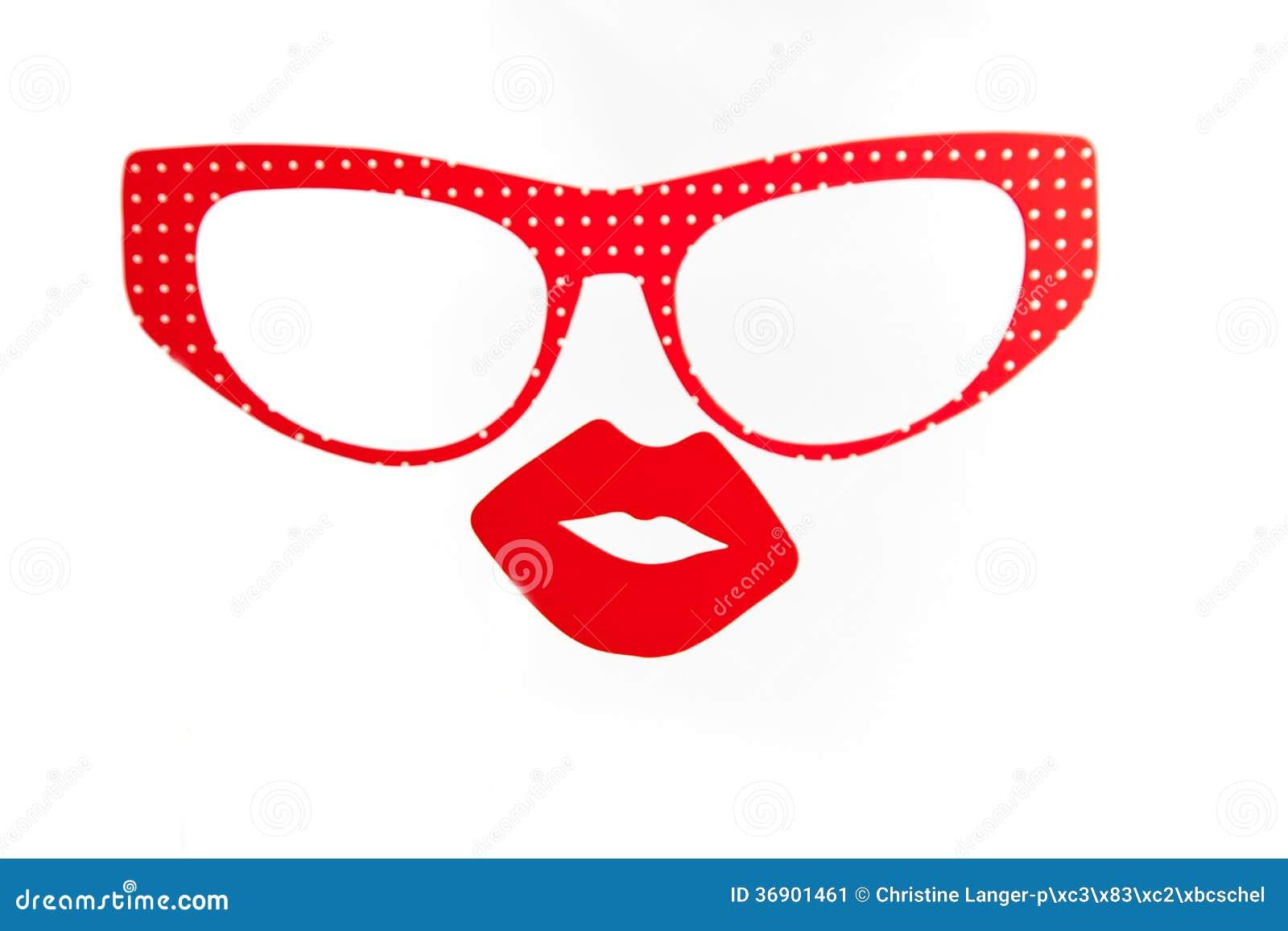 Czerwoni szkła i seksowne wargi