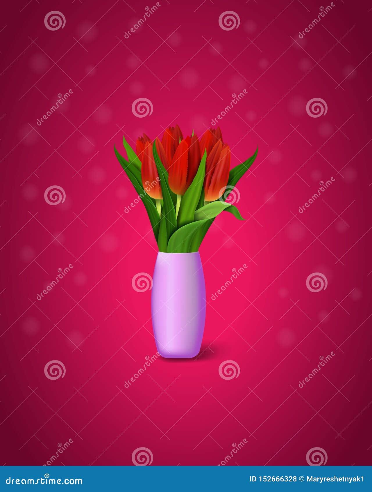 Czerwoni tulipany na purpurowym tle Bukiet czerwoni tulipany w wazie 10 eps ilustracyjny os?ony wektor