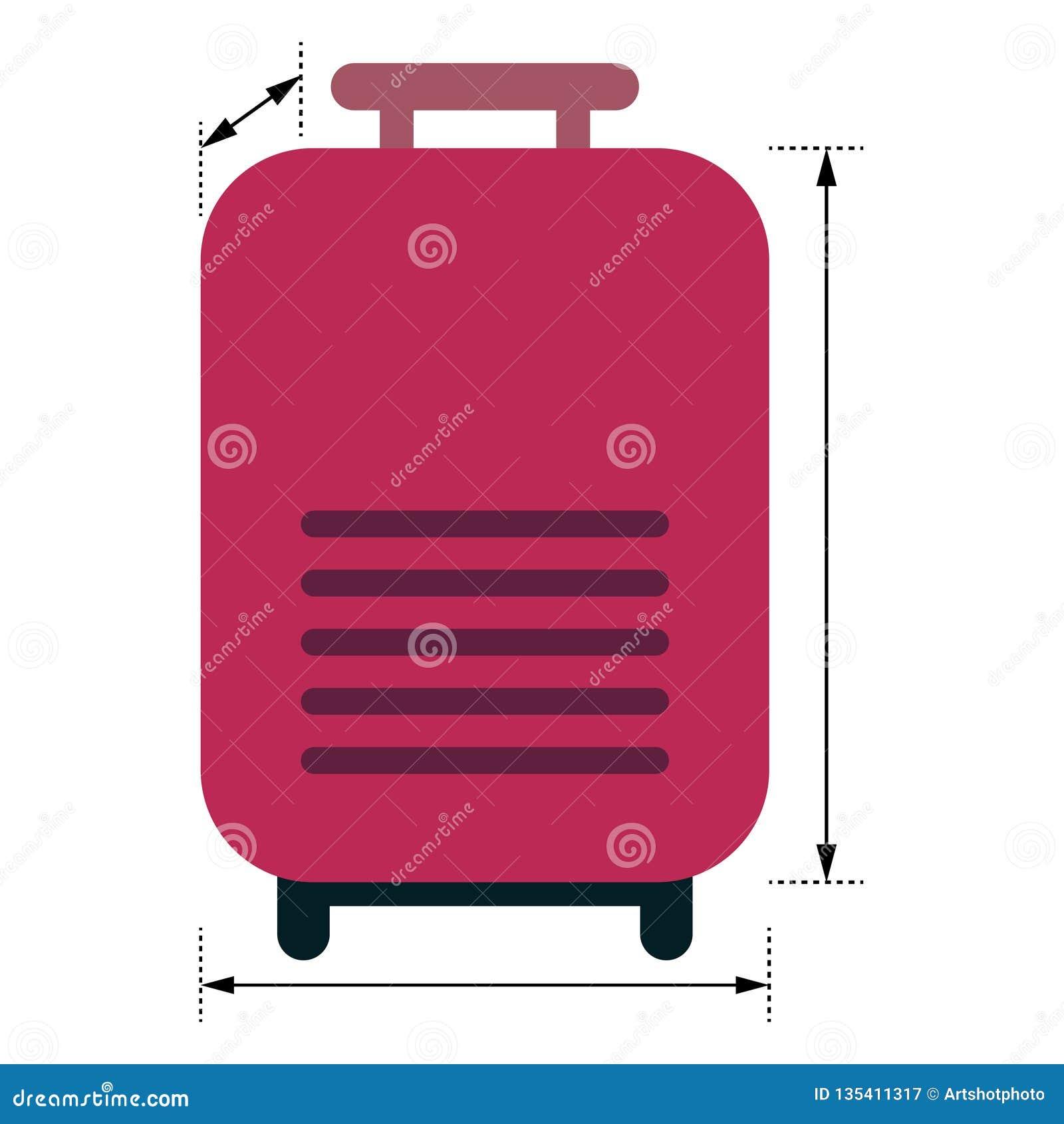Czerwony bagaż z strzałami pokazuje wymiary