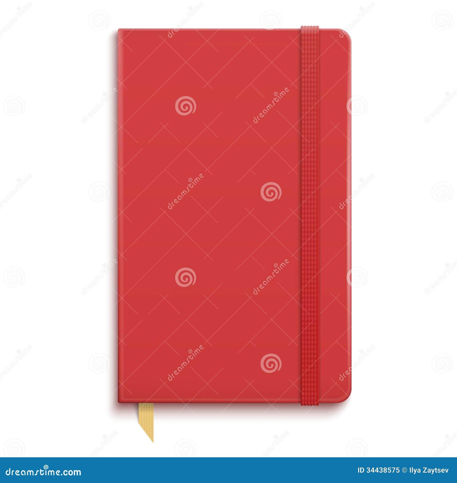 Czerwony copybook z elastycznym zespołem.