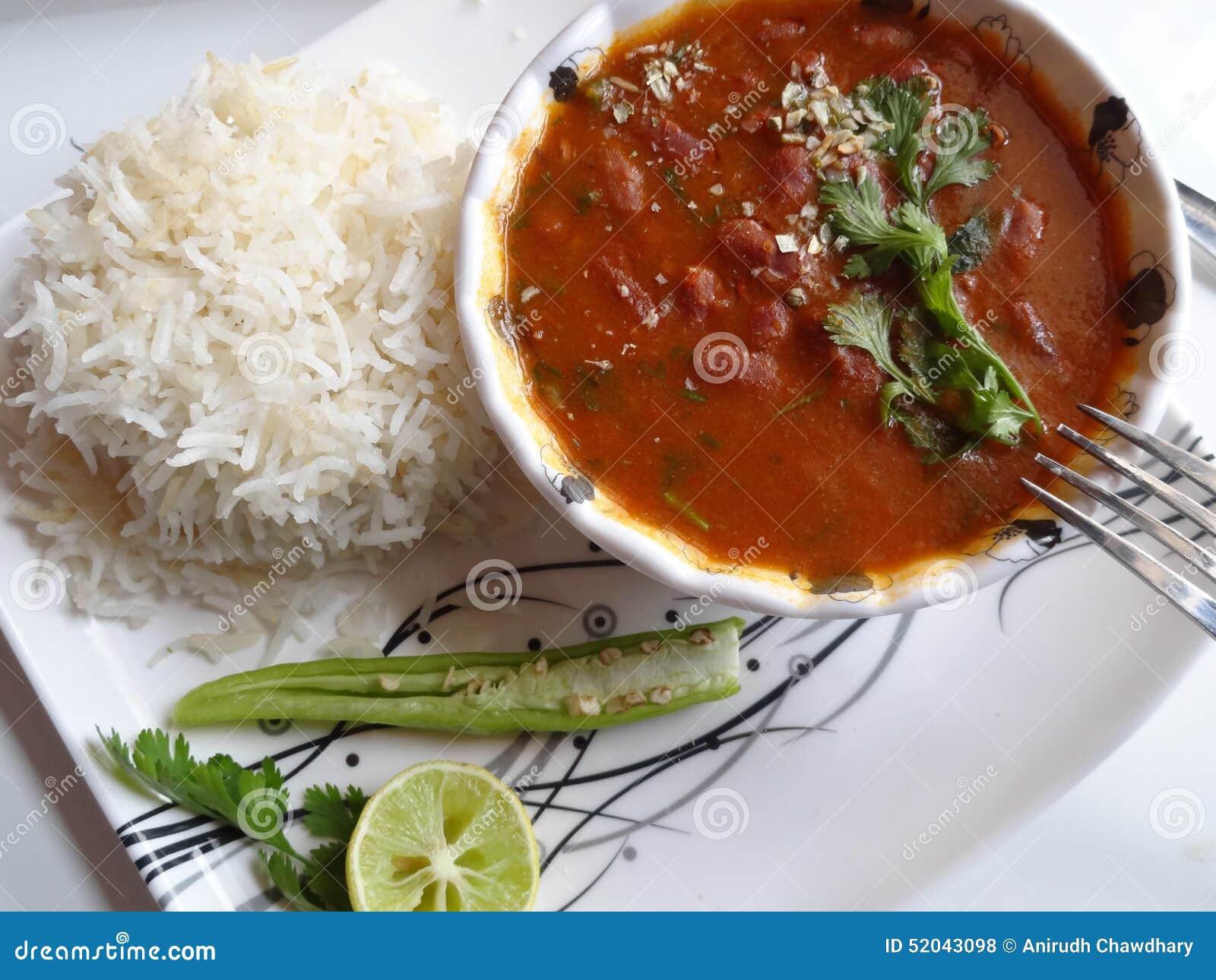 Czerwony Cynaderki Fasoli Sos Z Ryz Indyjska Kuchnia Zdjecie Stock