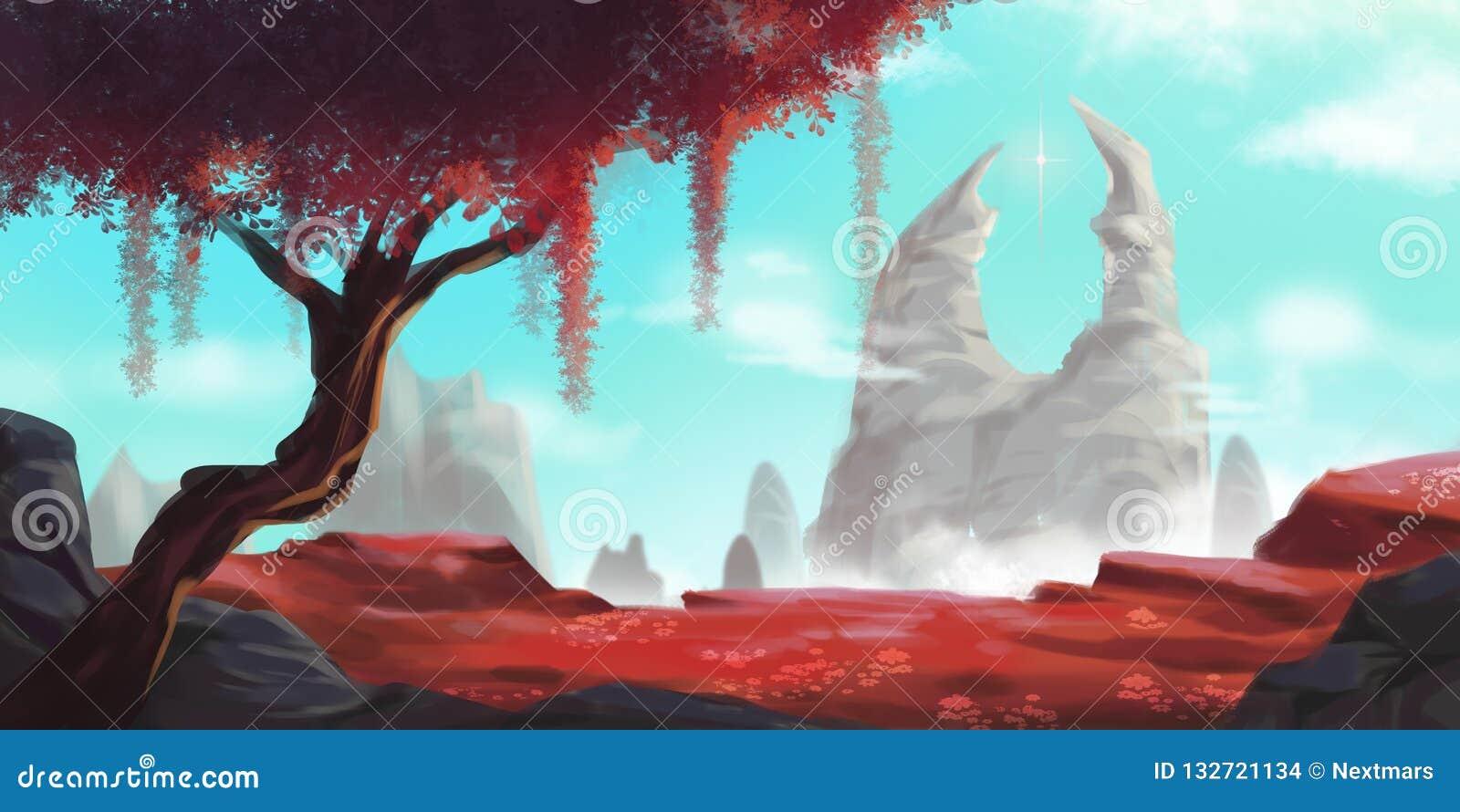Czerwony drzewo i Biała góra Beletrystyczny tło Pojęcie sztuka
