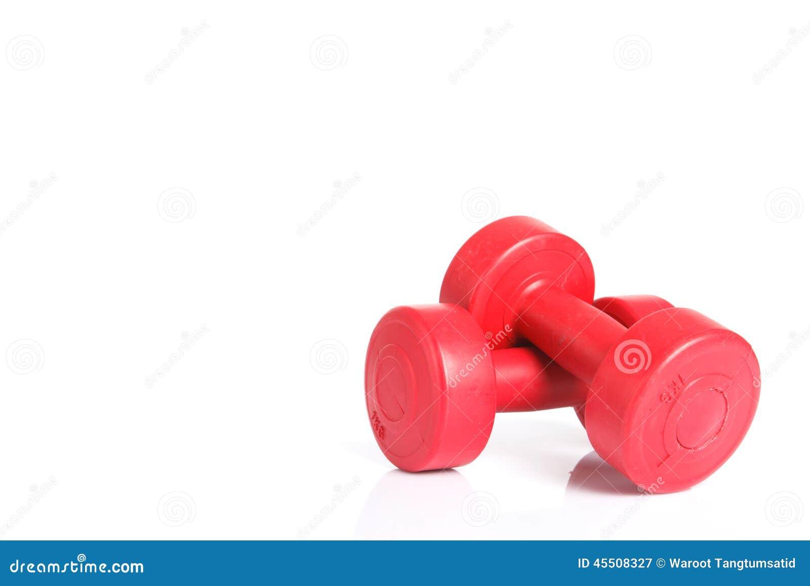 Czerwony dumbbells ciężar