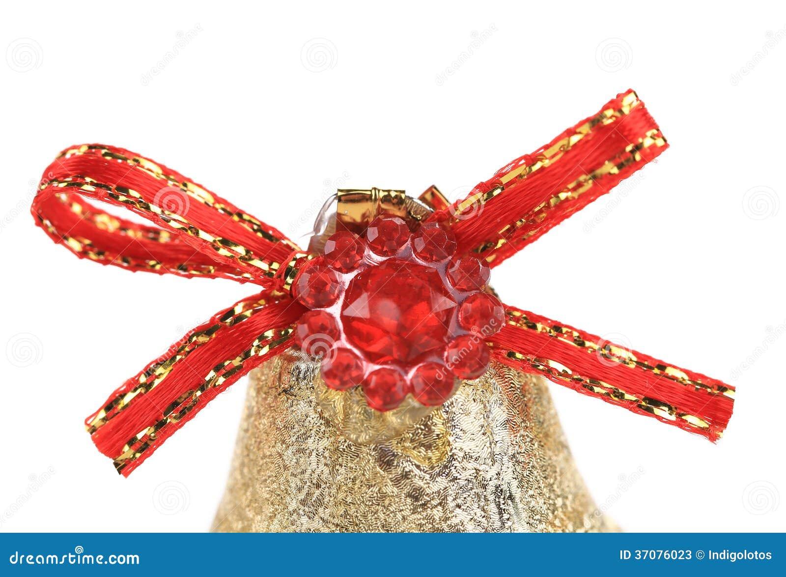Download Czerwony Faborek Na Bożenarodzeniowym Kingle Dzwonie. Obraz Stock - Obraz złożonej z dżwięczenia, biały: 37076023