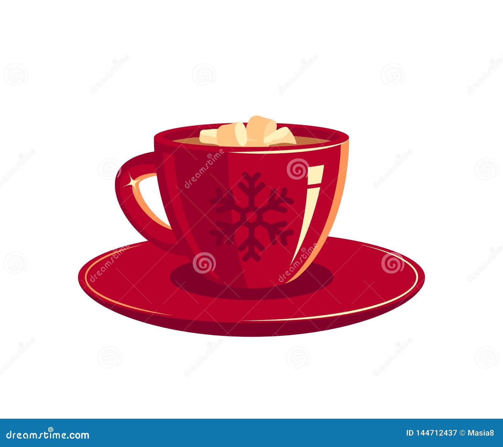 Czerwony fili?anka kawy lub czekolada, wektor