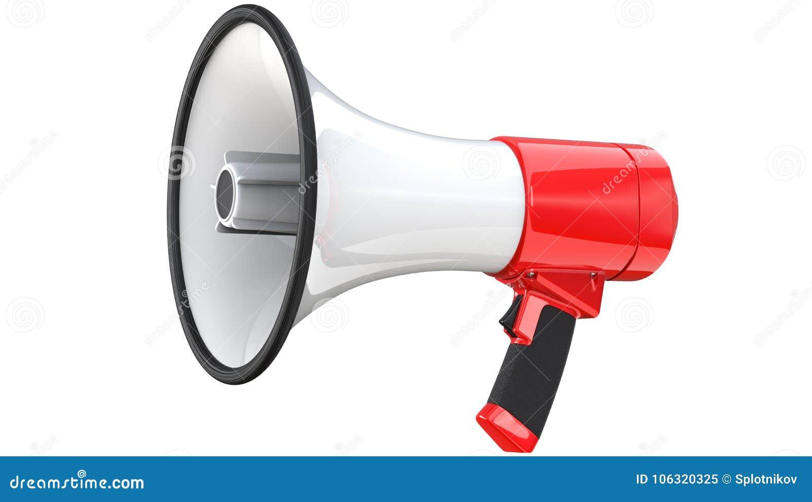 Czerwony i biały megafonu publicznego wystąpienia megafon 3d rendering mega telefon, odosobniony na białym tle