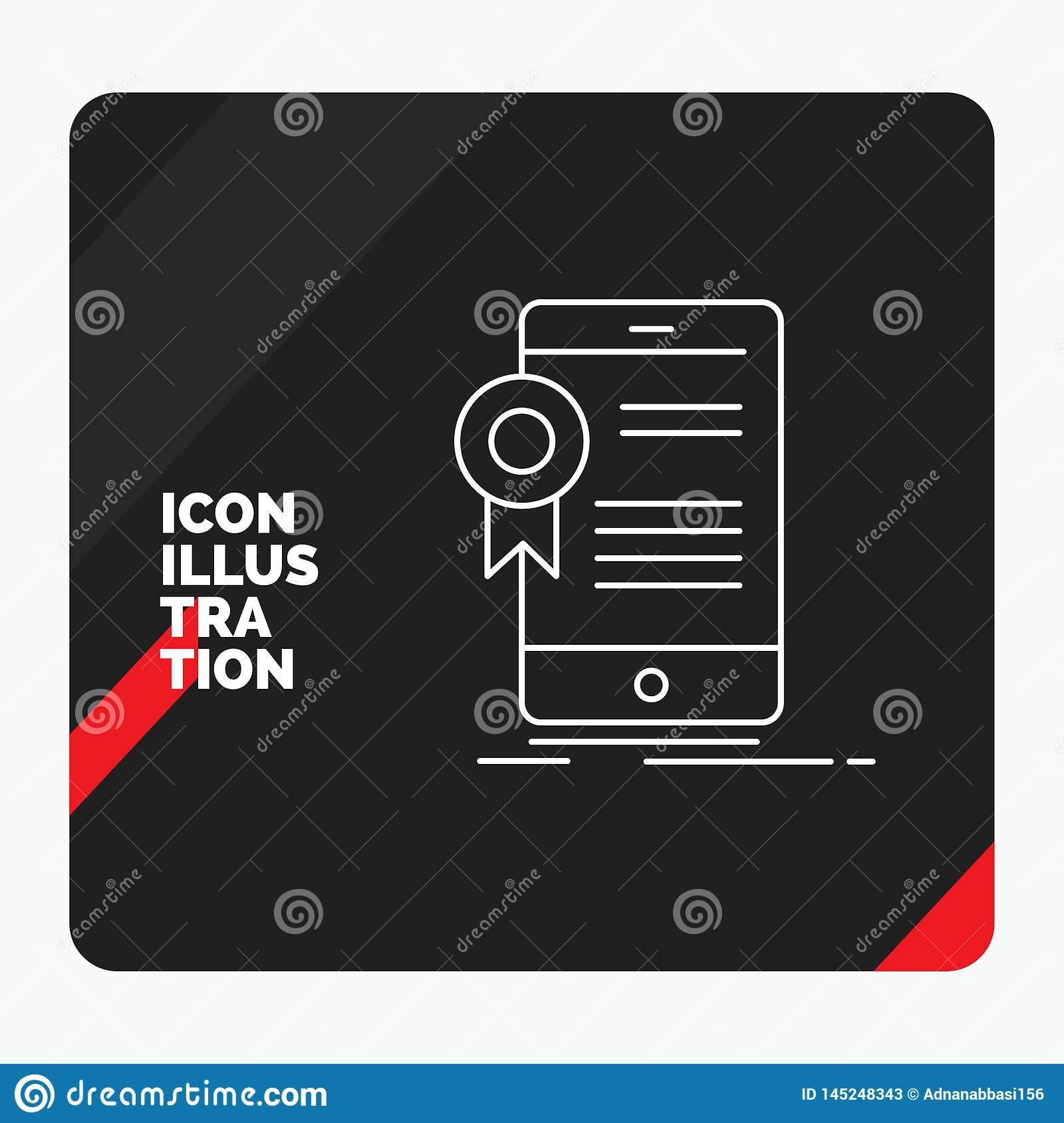 Czerwony i Czarny Kreatywnie prezentacji tło dla świadectwa, certyfikat, App, zastosowanie, zatwierdzenie Kreskowa ikona